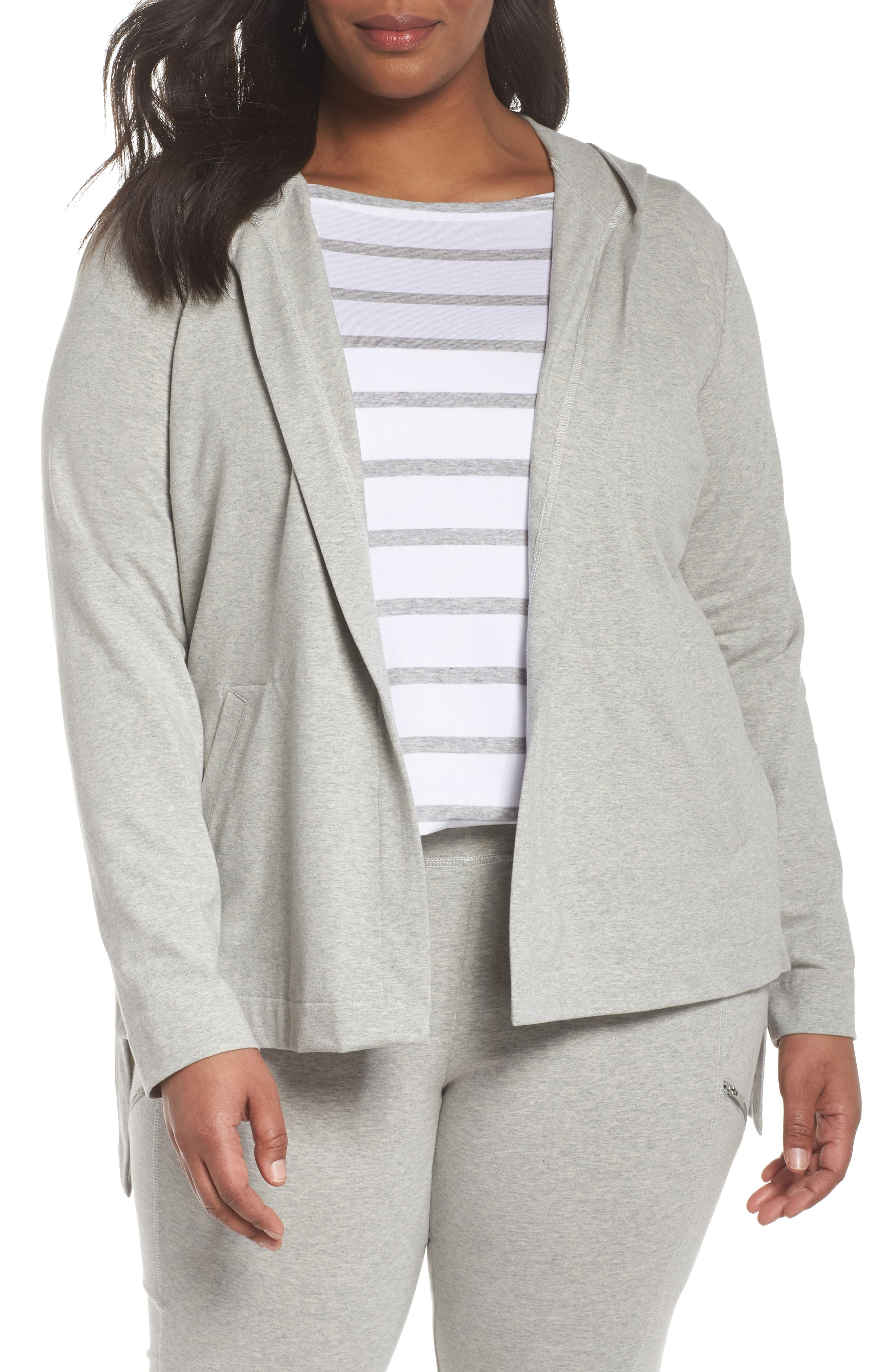 Stretch Organic Cotton Knit Hooded Jacket,                         Main,                         color, Dark Pearl