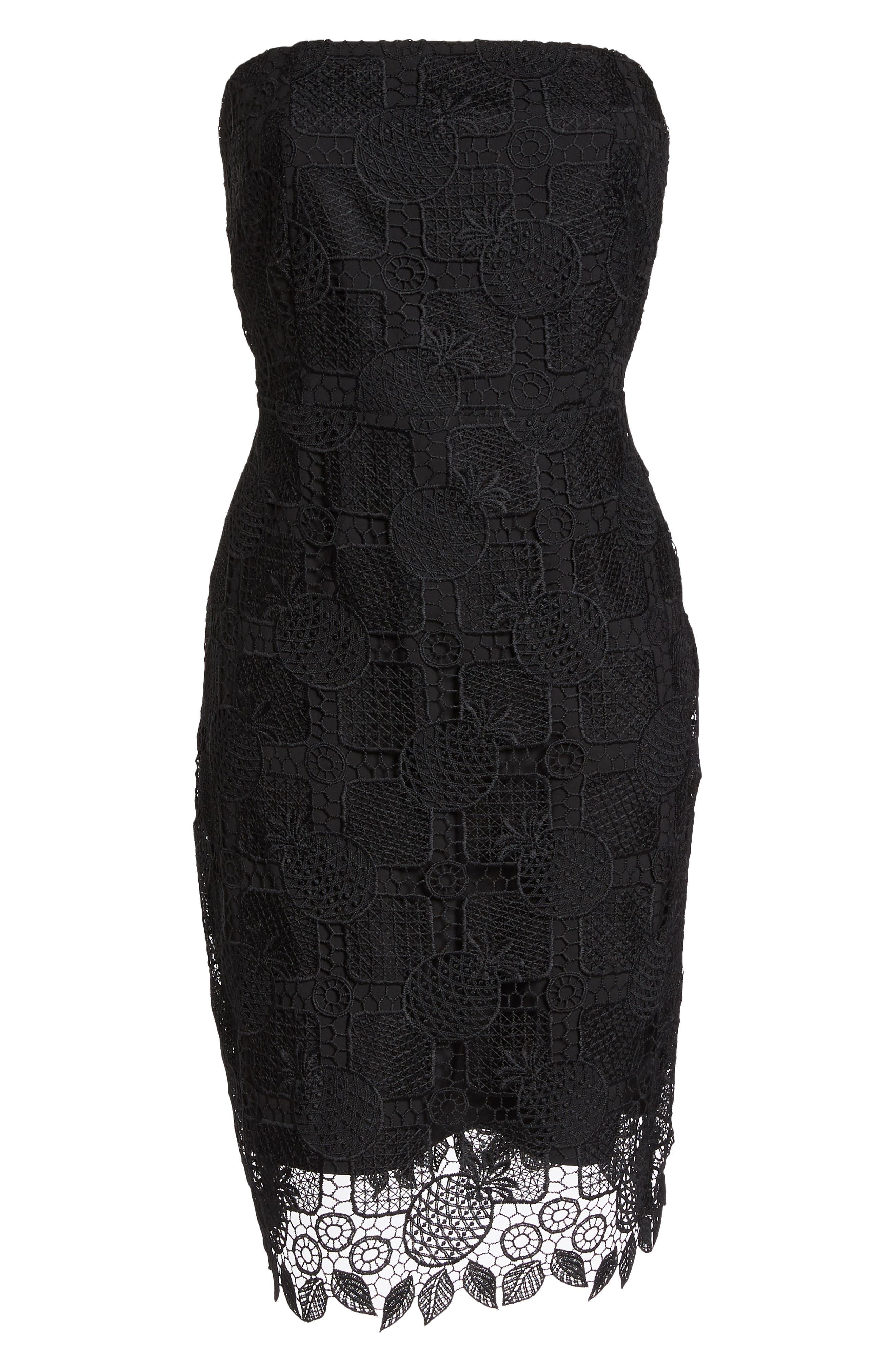 Strapless Lace Dress,                             Alternate thumbnail 6, color,                             Black