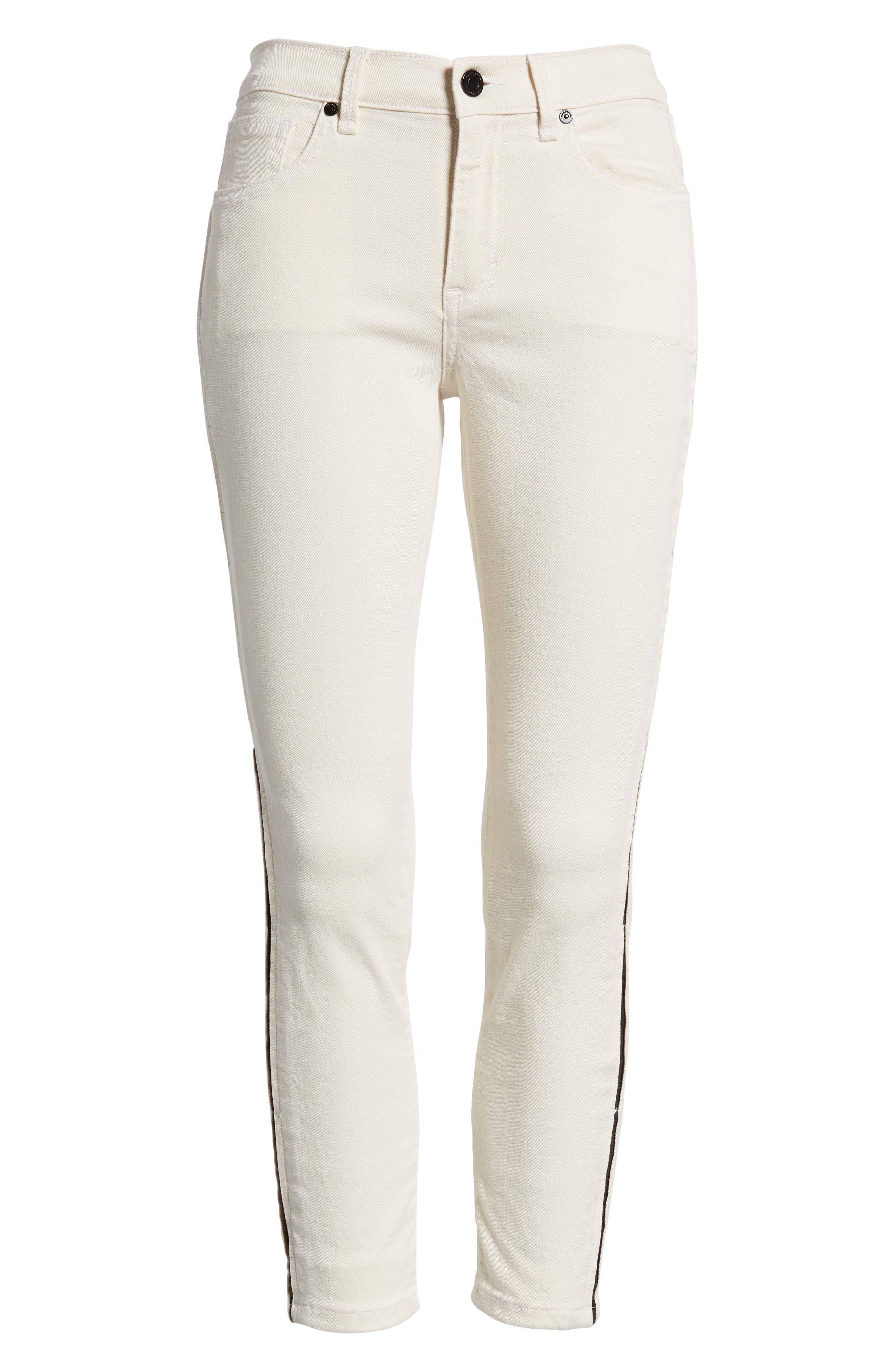 Demi Inset Stripe Skinny Jeans,                             Alternate thumbnail 7, color,                             Natural