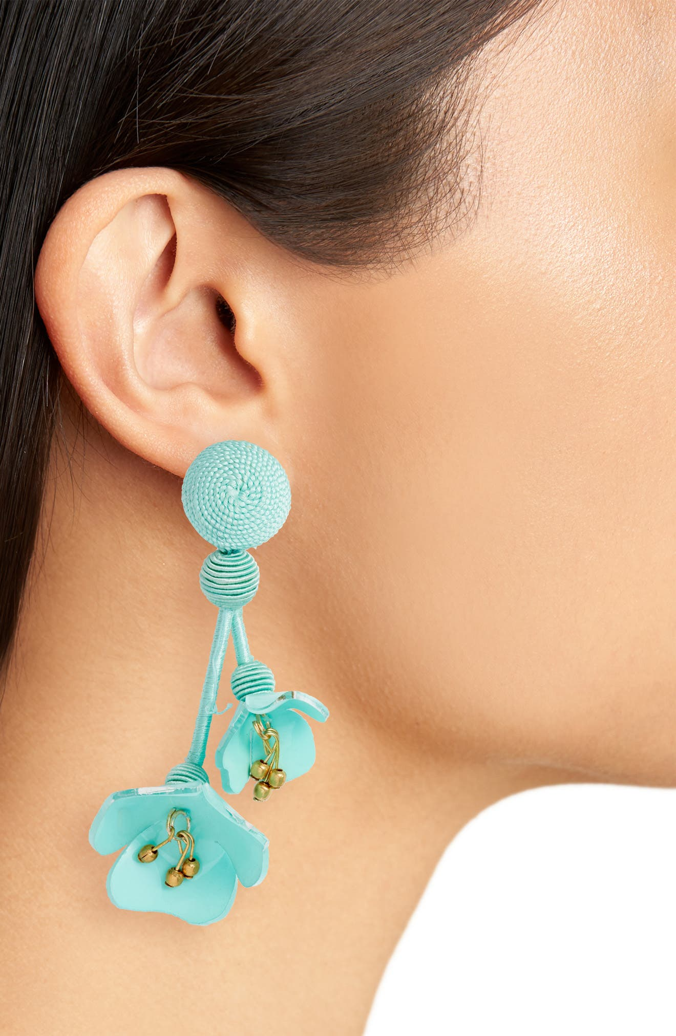 Falling Flower Drop Earrings,                             Alternate thumbnail 2, color,                             Pistachio