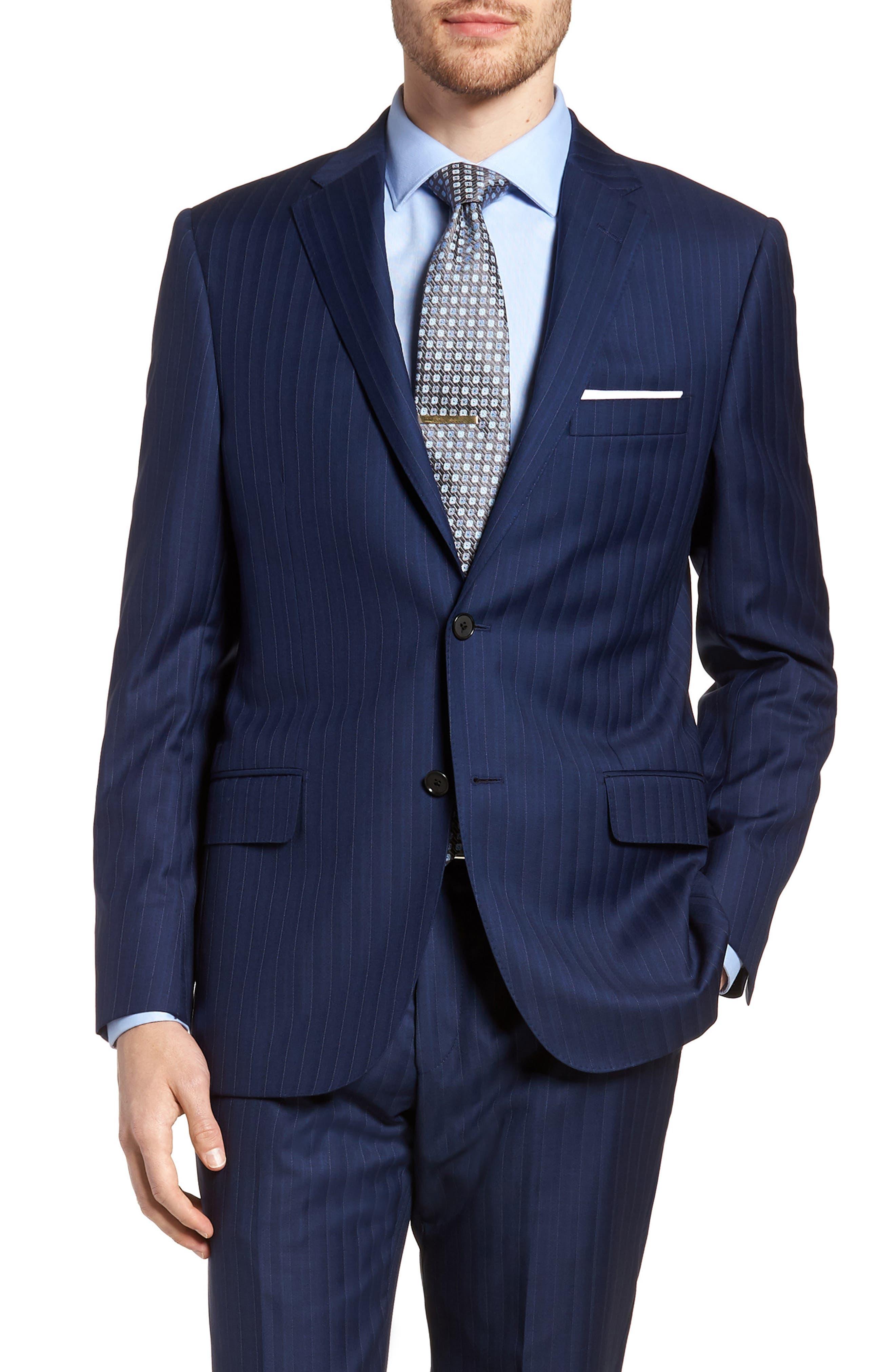 Classic B Fit Stripe Wool Suit,                             Alternate thumbnail 5, color,                             Navy Stripe