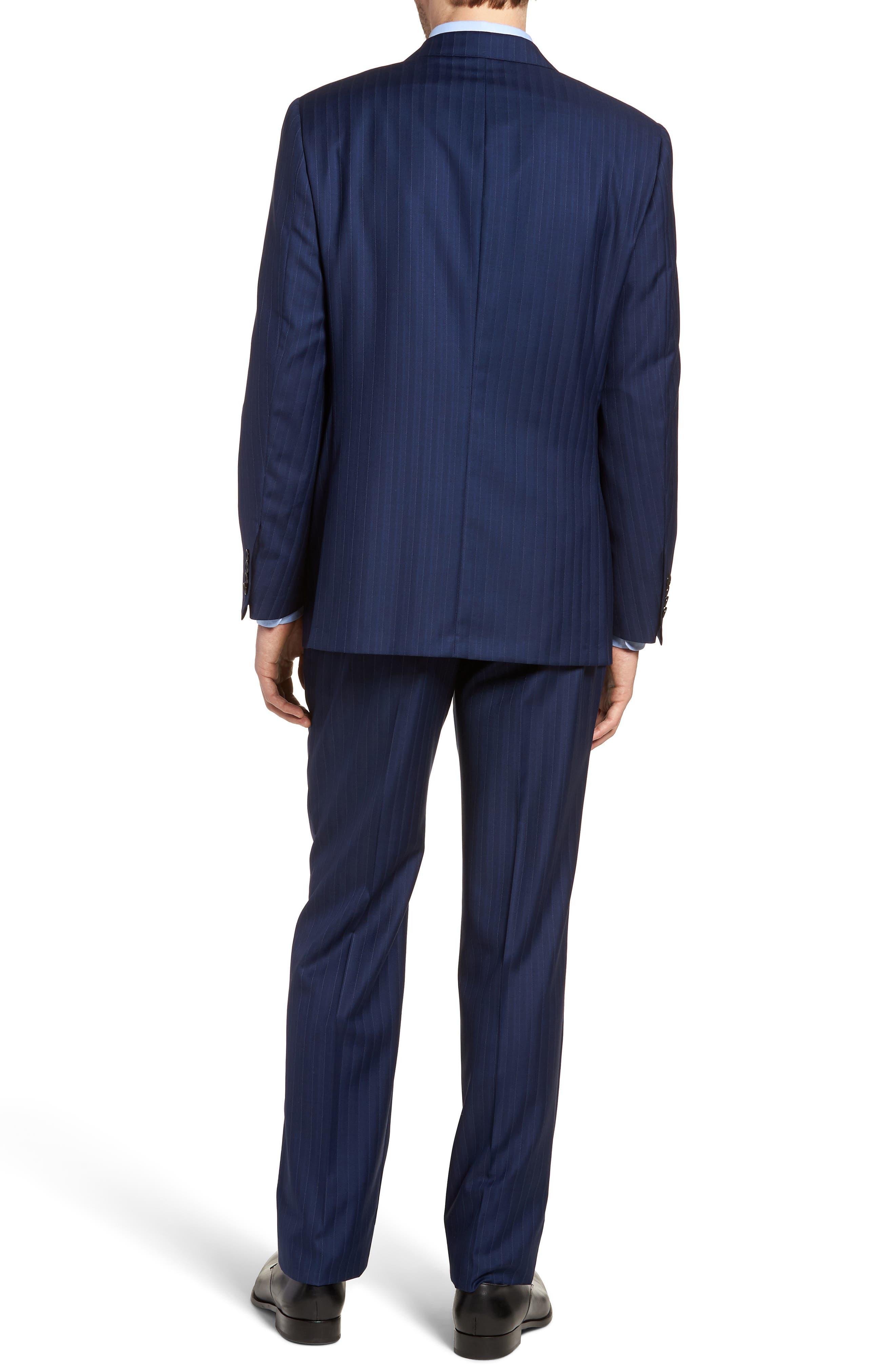 Classic B Fit Stripe Wool Suit,                             Alternate thumbnail 2, color,                             Navy Stripe