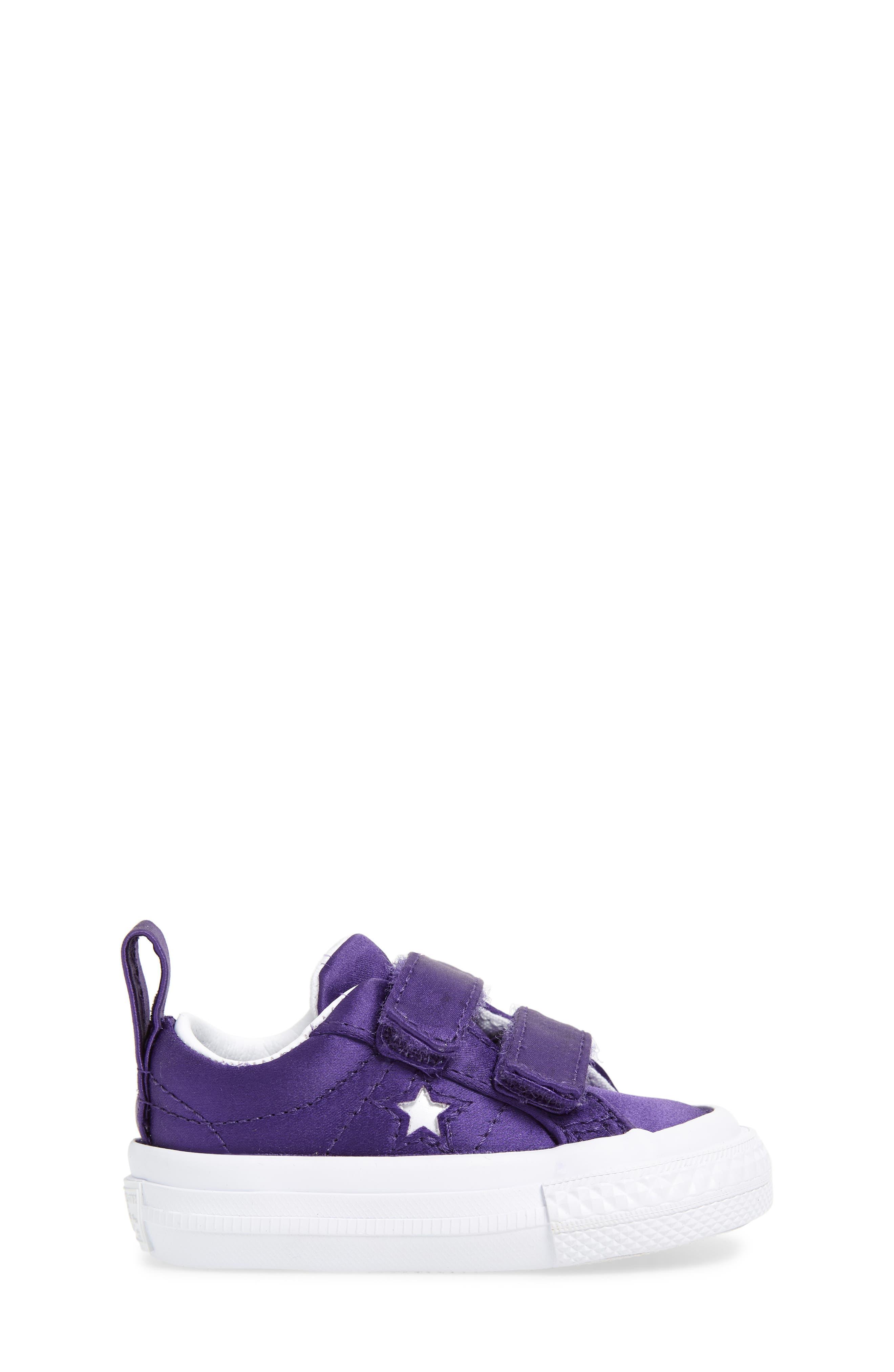 One Star Satin 2V Low Top Sneaker,                             Alternate thumbnail 3, color,                             Court Purple