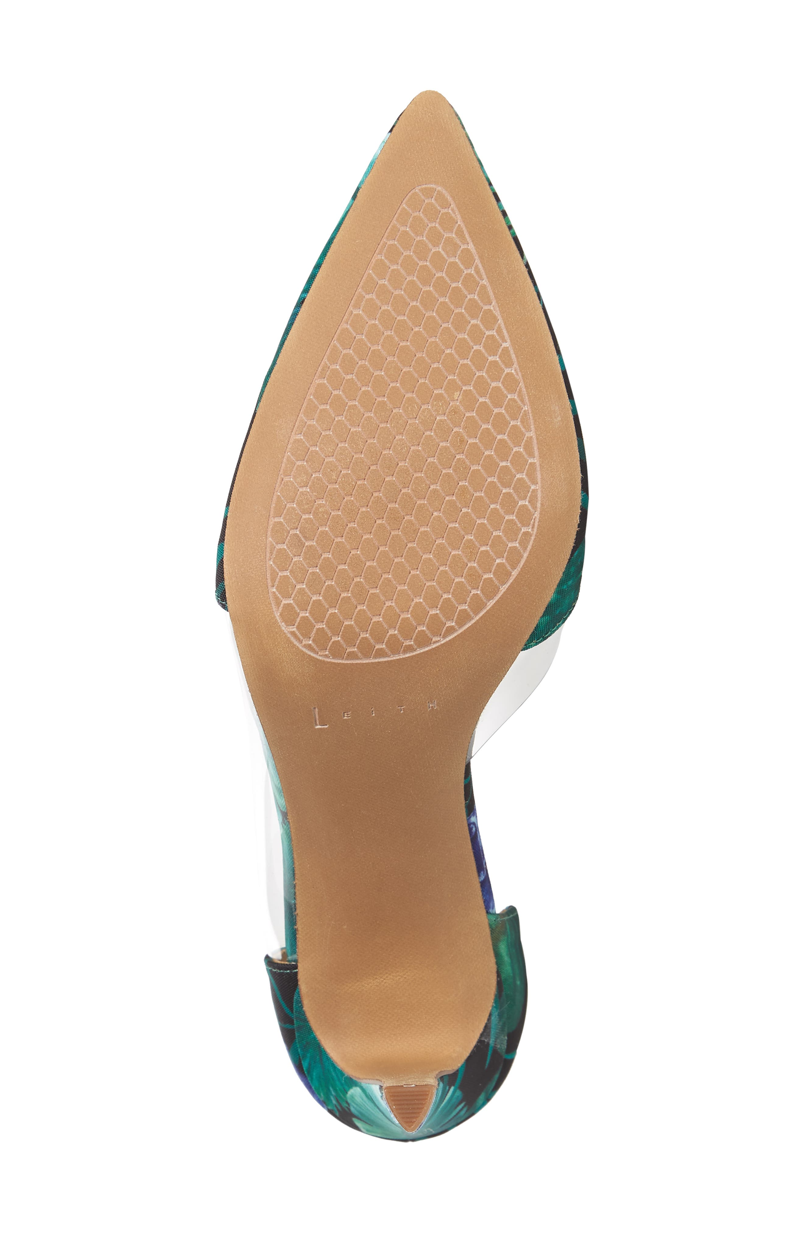 Parker Clear d'Orsay Pump,                             Alternate thumbnail 6, color,                             Green Multi Fabric Print