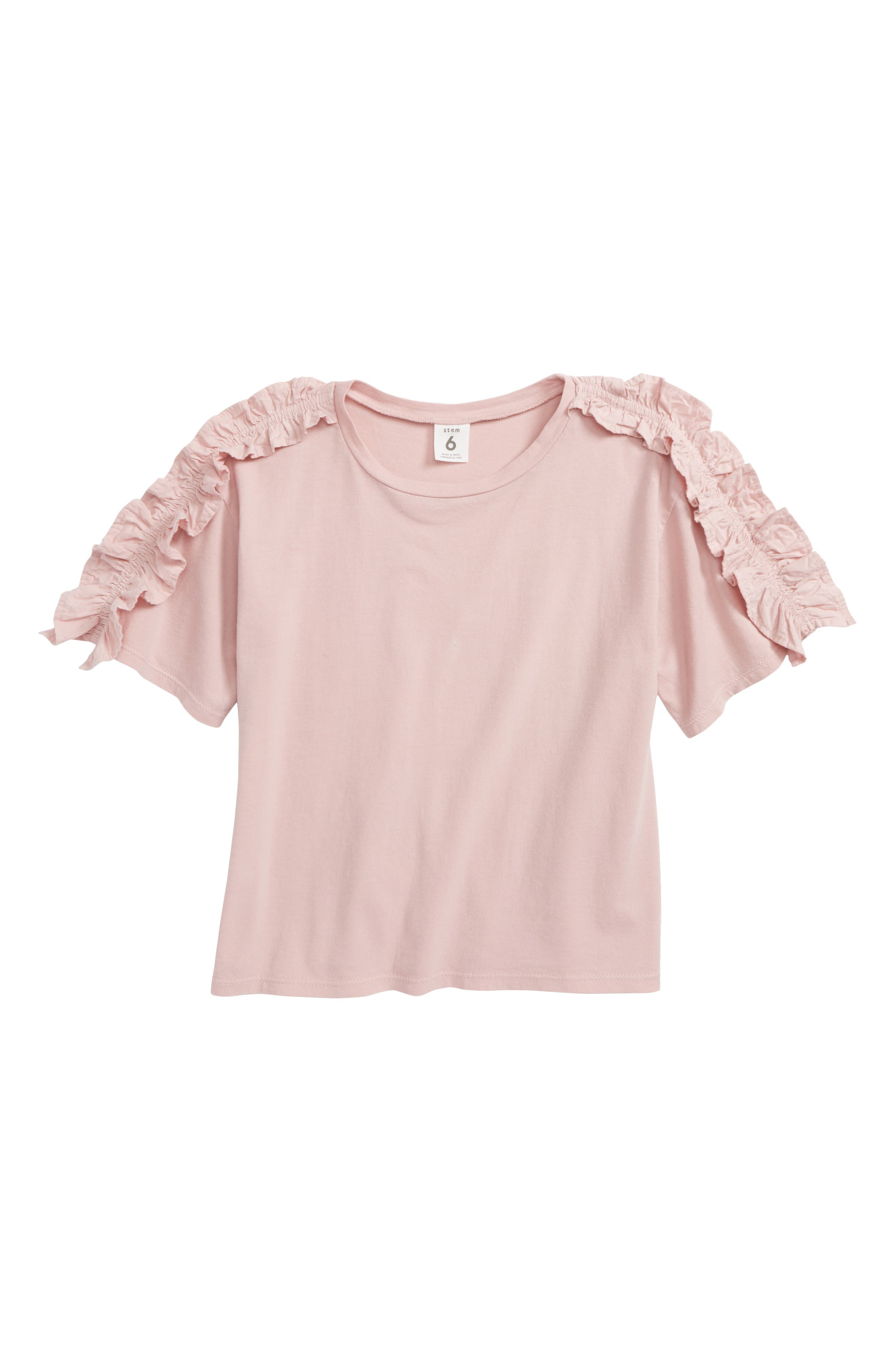 Ruffle Sleeve Tee,                         Main,                         color, Pink Apricot