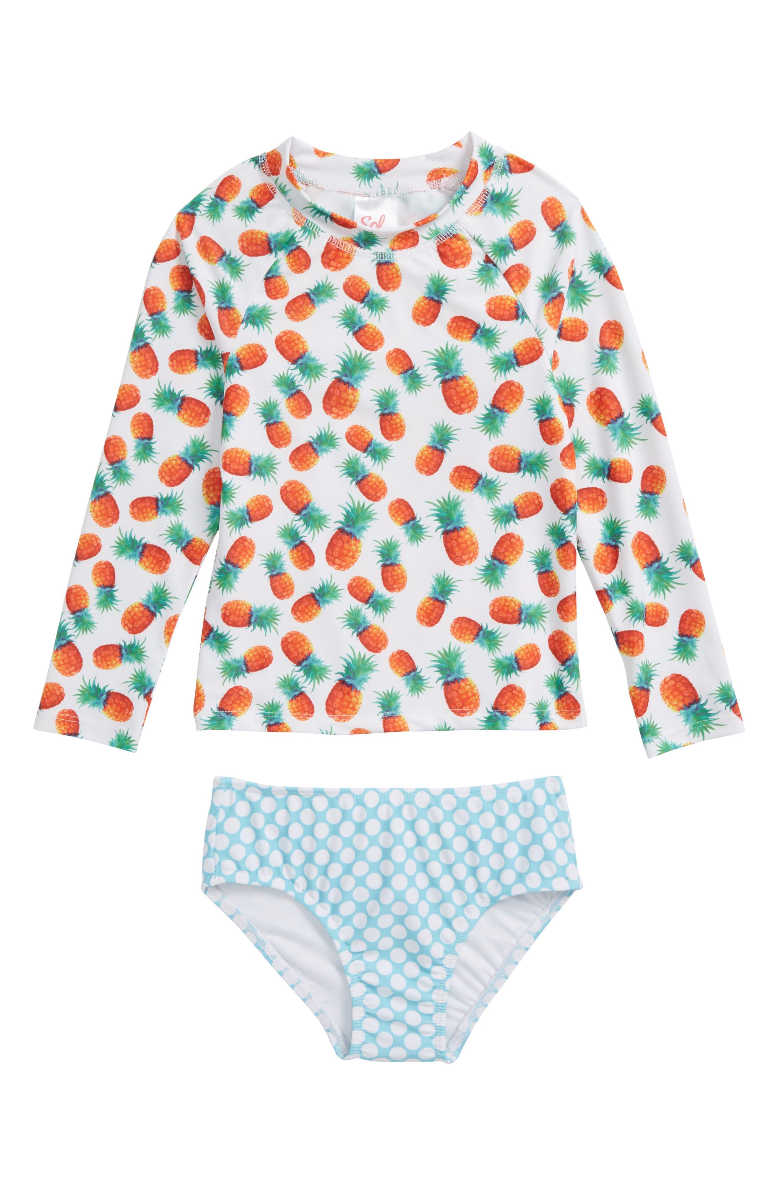 Main Image - Sol Swim Pineapple Disco Two-Piece Rashguard Swimsuit (Toddler Girls & Little Girls)