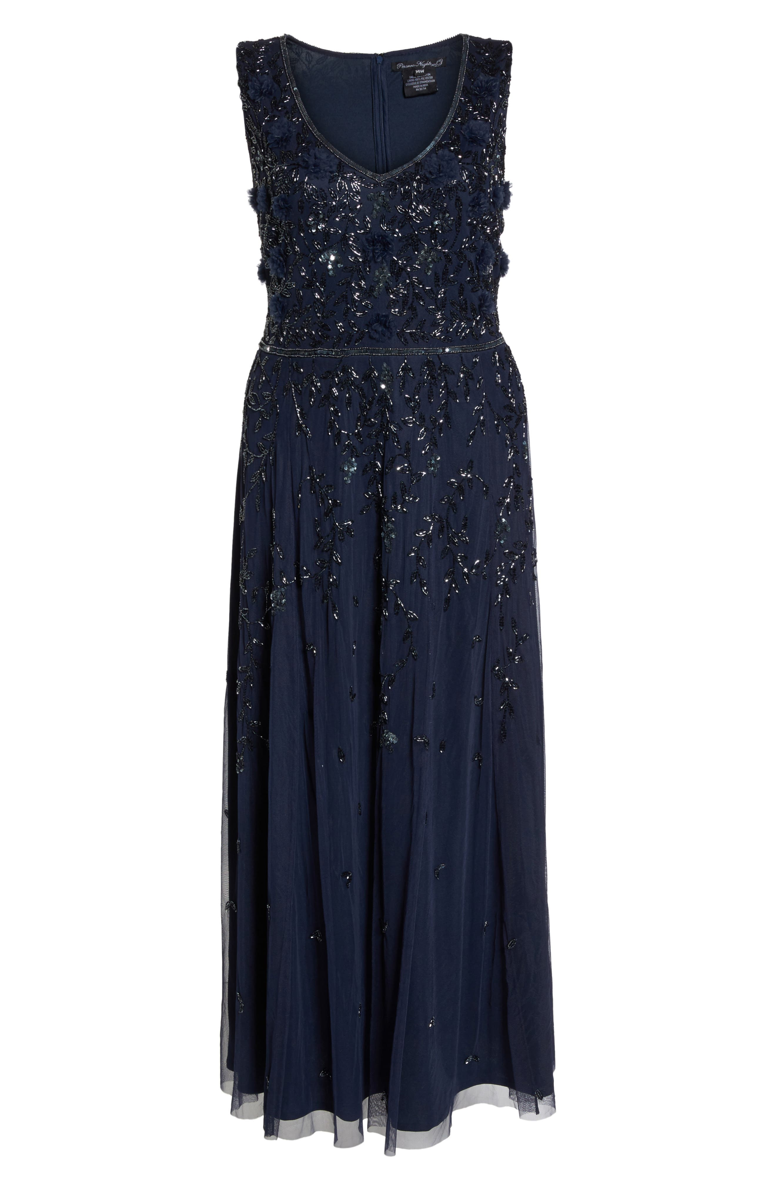3D Embellished Mesh A-Line Gown,                             Alternate thumbnail 6, color,                             Navy