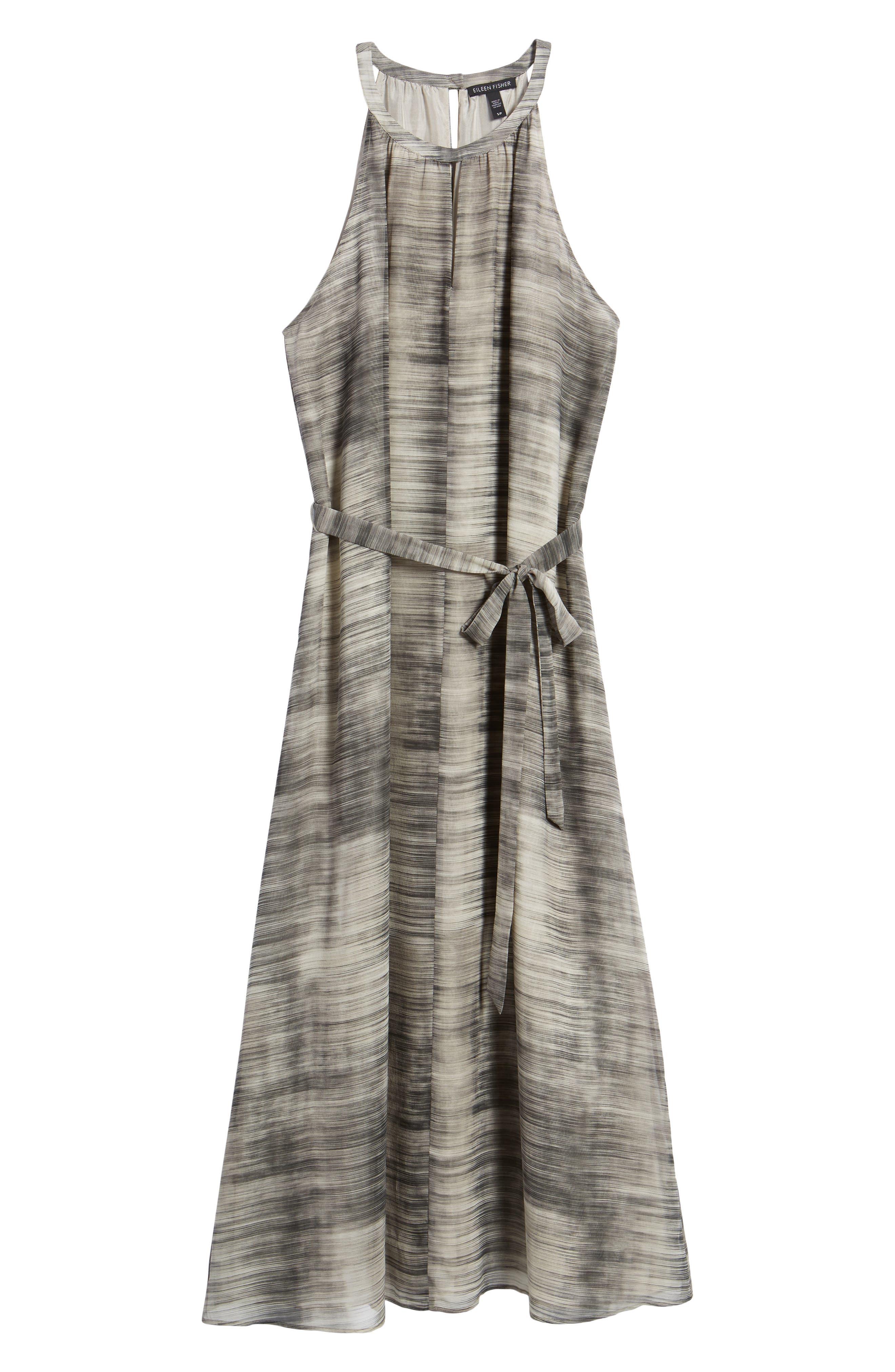 Silk Midi Dress,                             Alternate thumbnail 7, color,                             Limestone