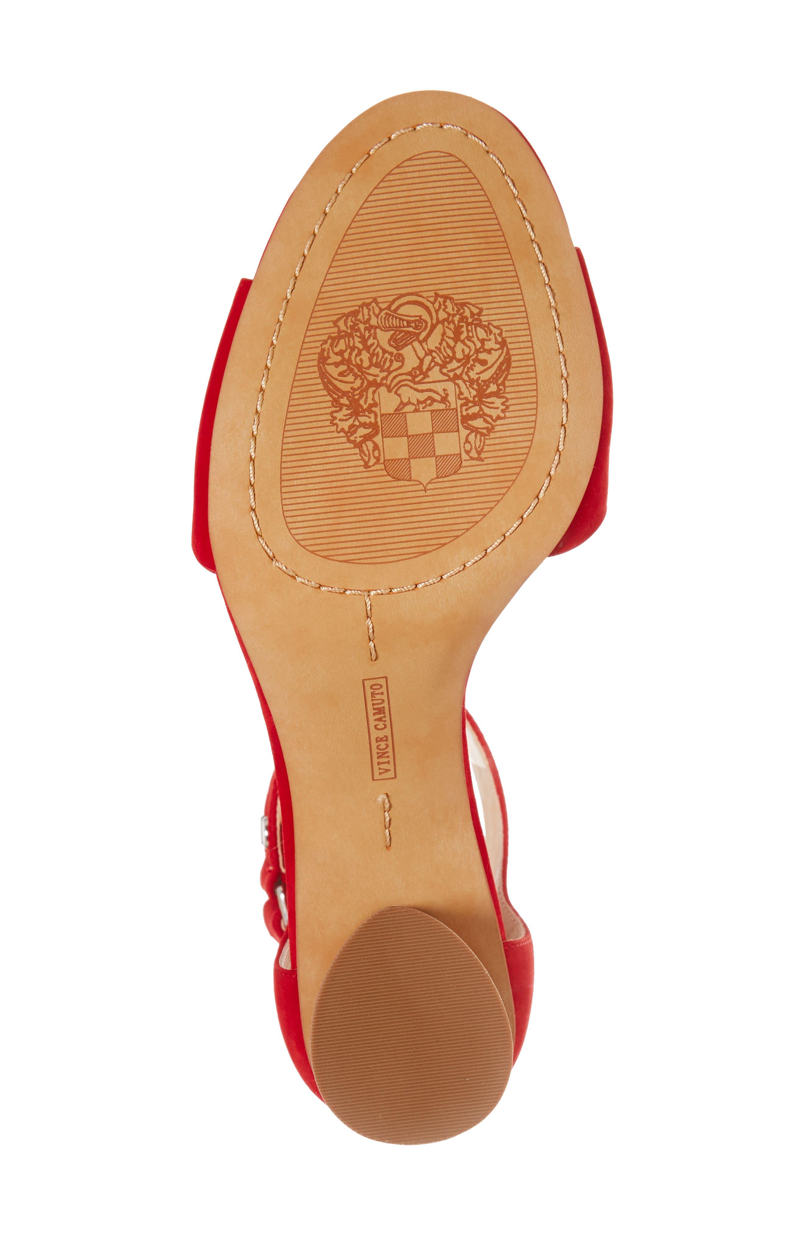 Jannali Ankle Strap Sandal,                             Alternate thumbnail 6, color,                             Cherry Red Leather