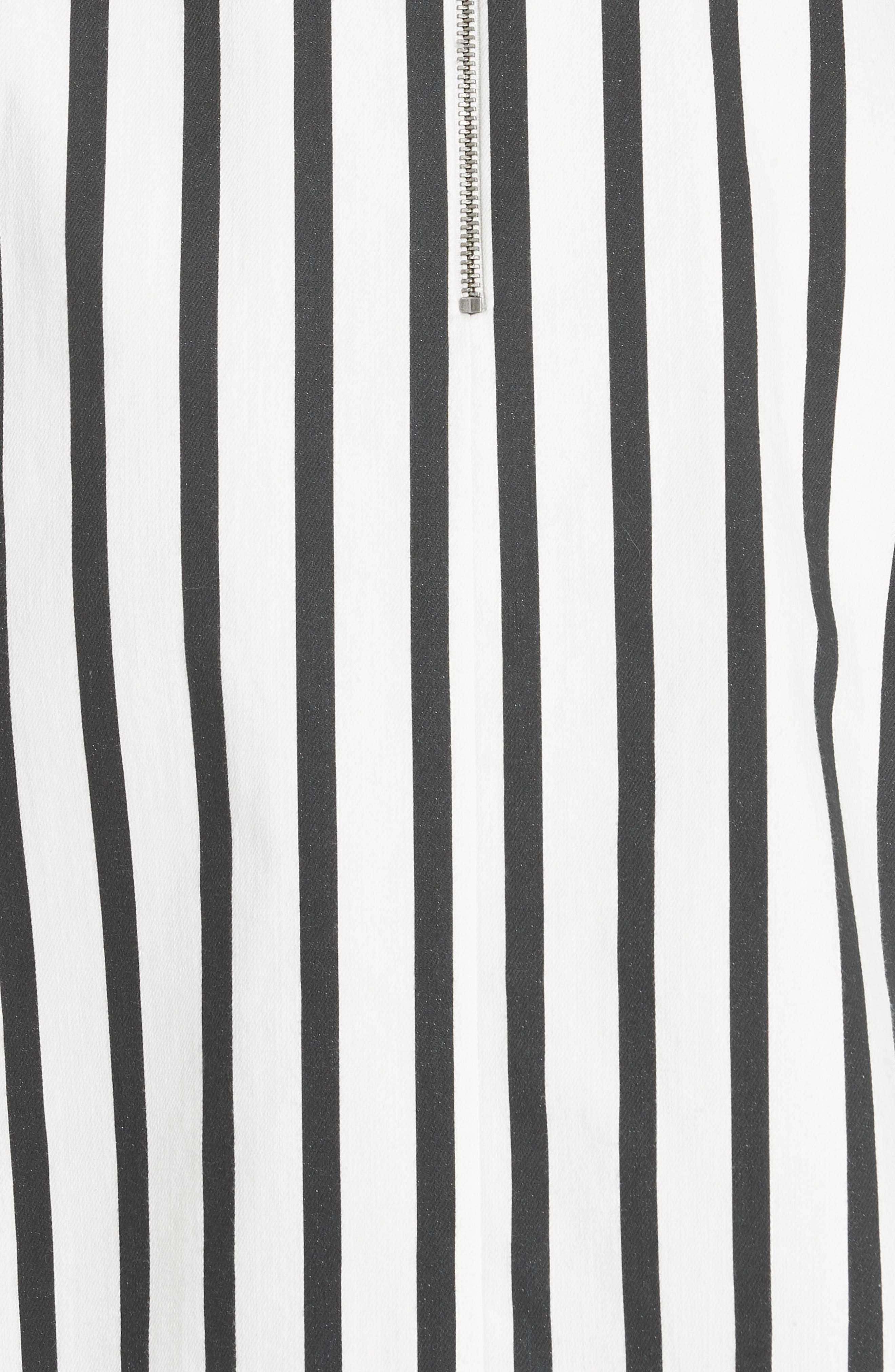 Nella Button Front Stripe Dress,                             Alternate thumbnail 5, color,                             Monochrome Stripe