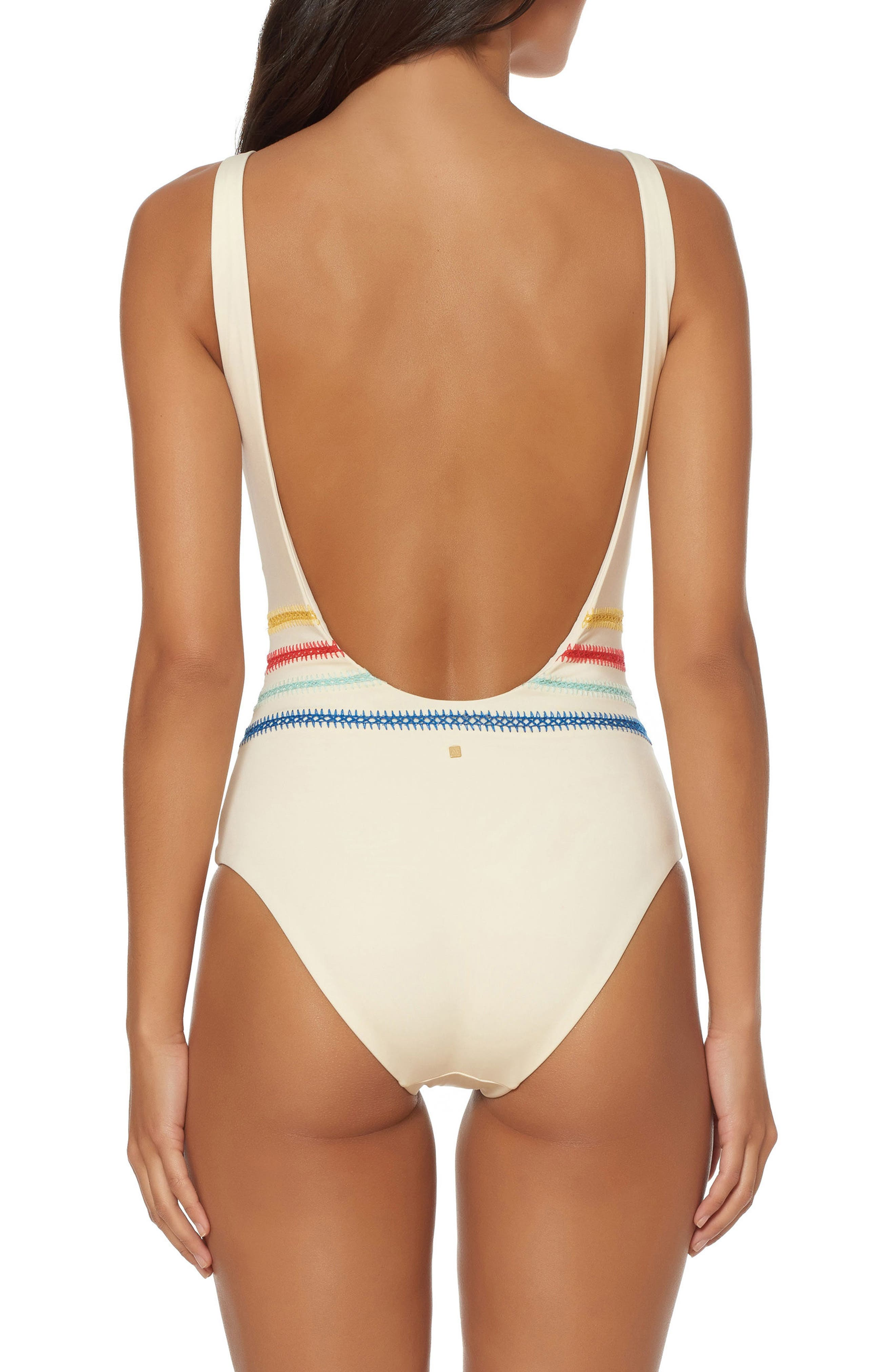 Alternate Image 2  - Dolce Vita Embroidered One-Piece Swimsuit