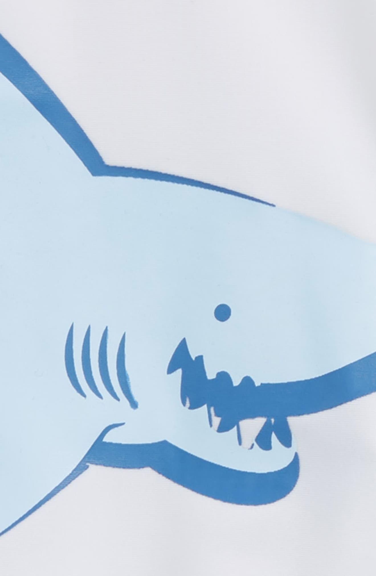Friendly Shark Collison Two-Piece Rashguard Swimsuit,                             Alternate thumbnail 2, color,                             White Multi