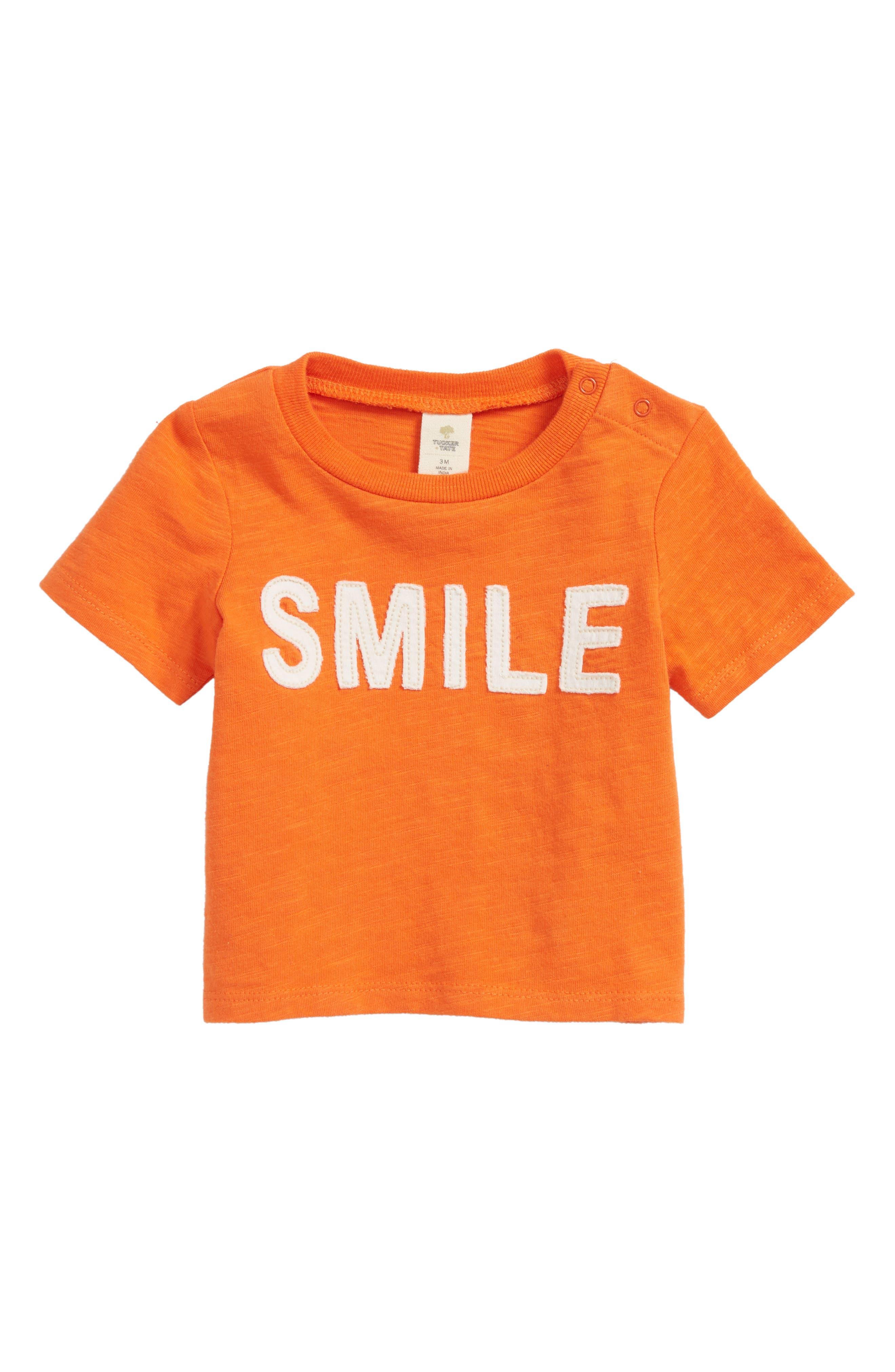 Smile Appliqué T-Shirt,                             Main thumbnail 1, color,                             Orange Lily Smiles