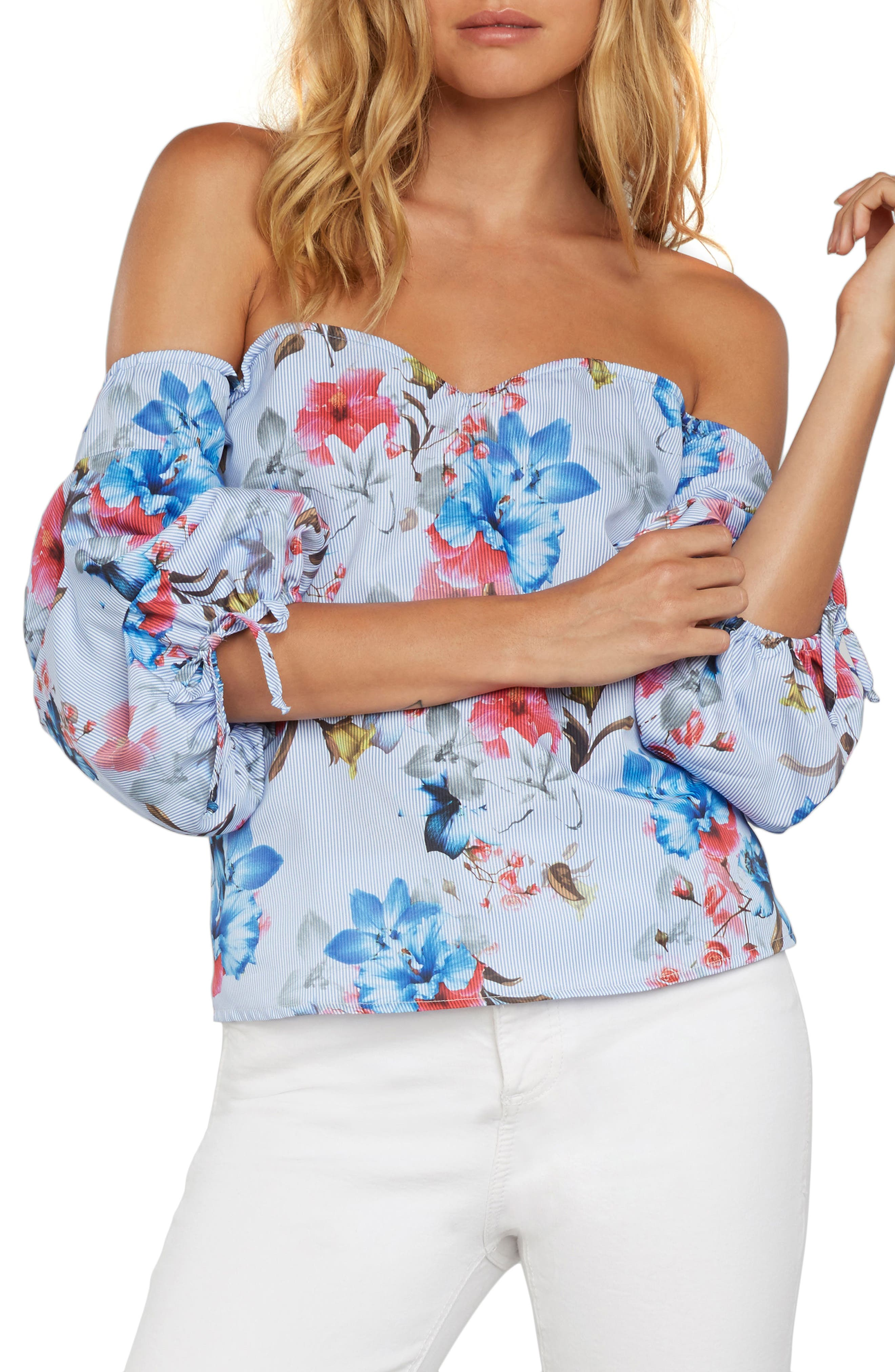 Eliana Off the Shoulder Top,                         Main,                         color, Chambray