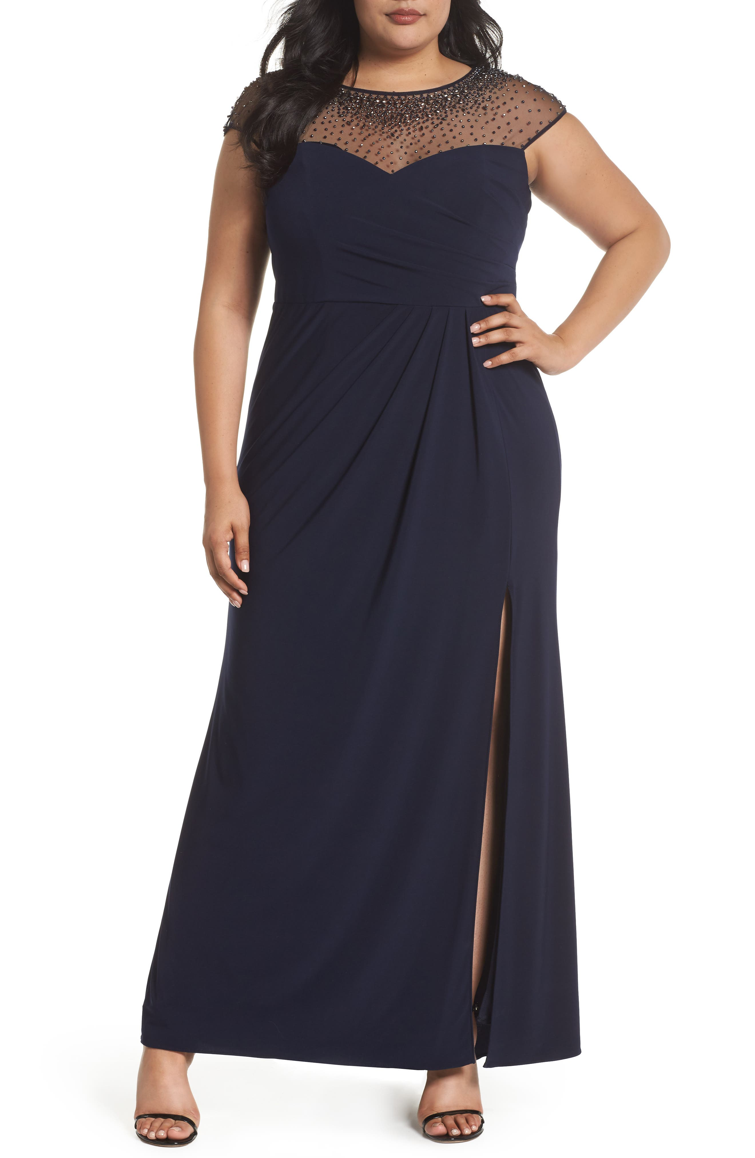 Beaded Faux Wrap Gown,                         Main,                         color, Navy/ Gunmetal