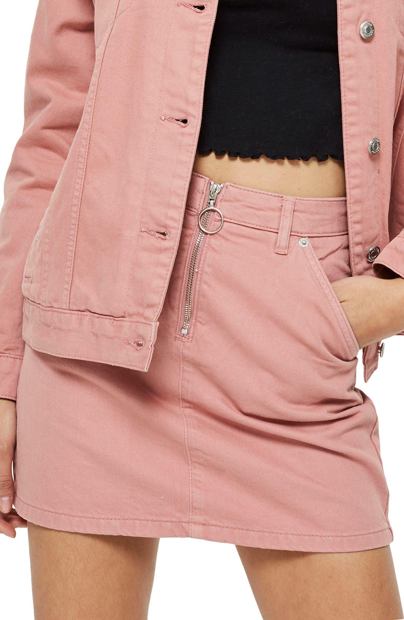 Topshop Half Zip Denim Skirt