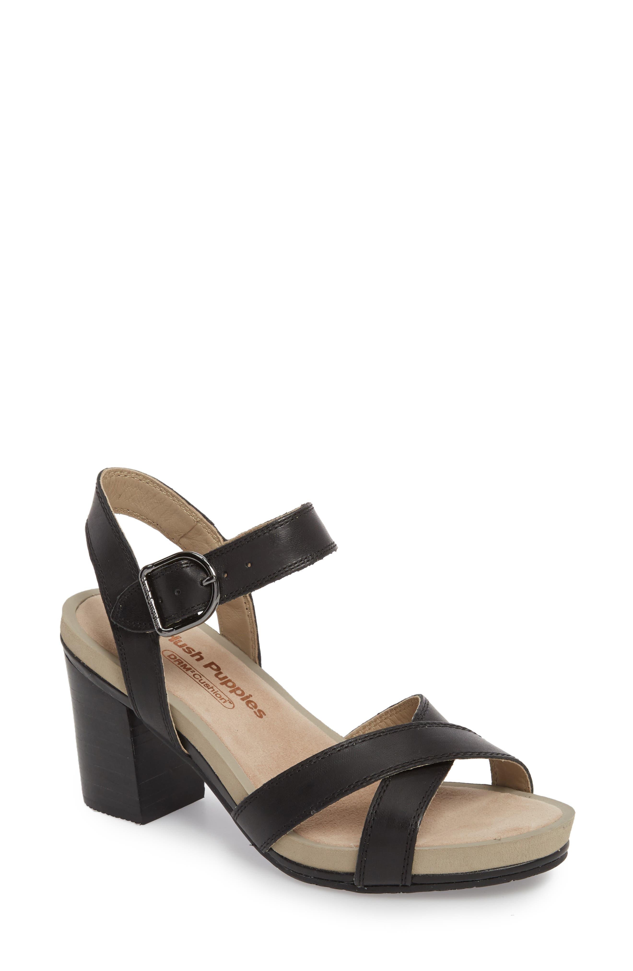 Mariska Block Heel Sandal,                             Main thumbnail 1, color,                             Black Leather