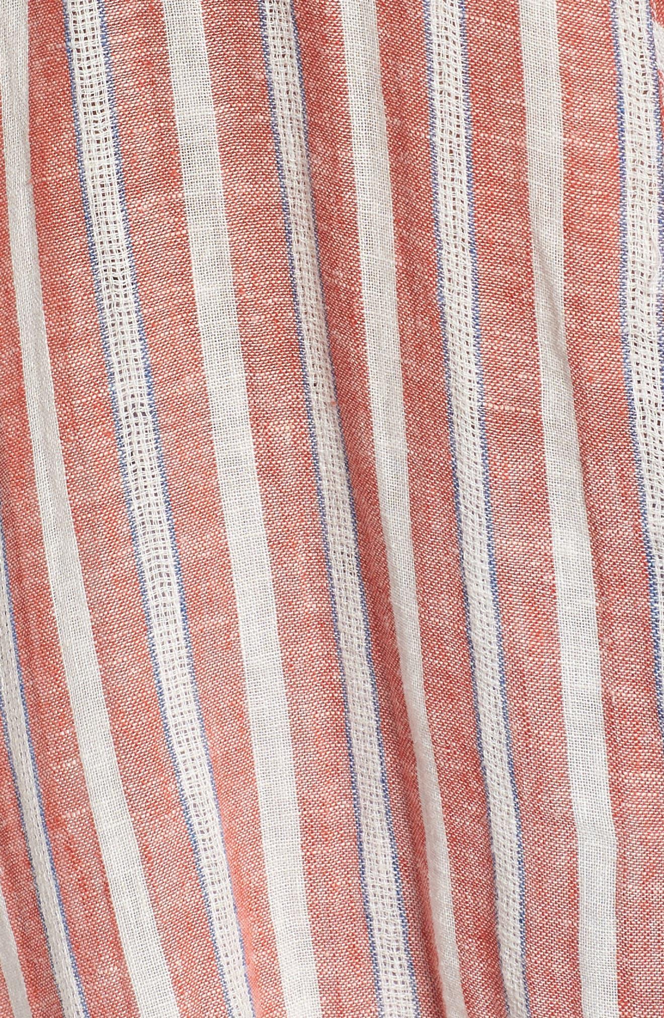 Tie Back Stripe Shirt,                             Alternate thumbnail 6, color,                             Red Multi