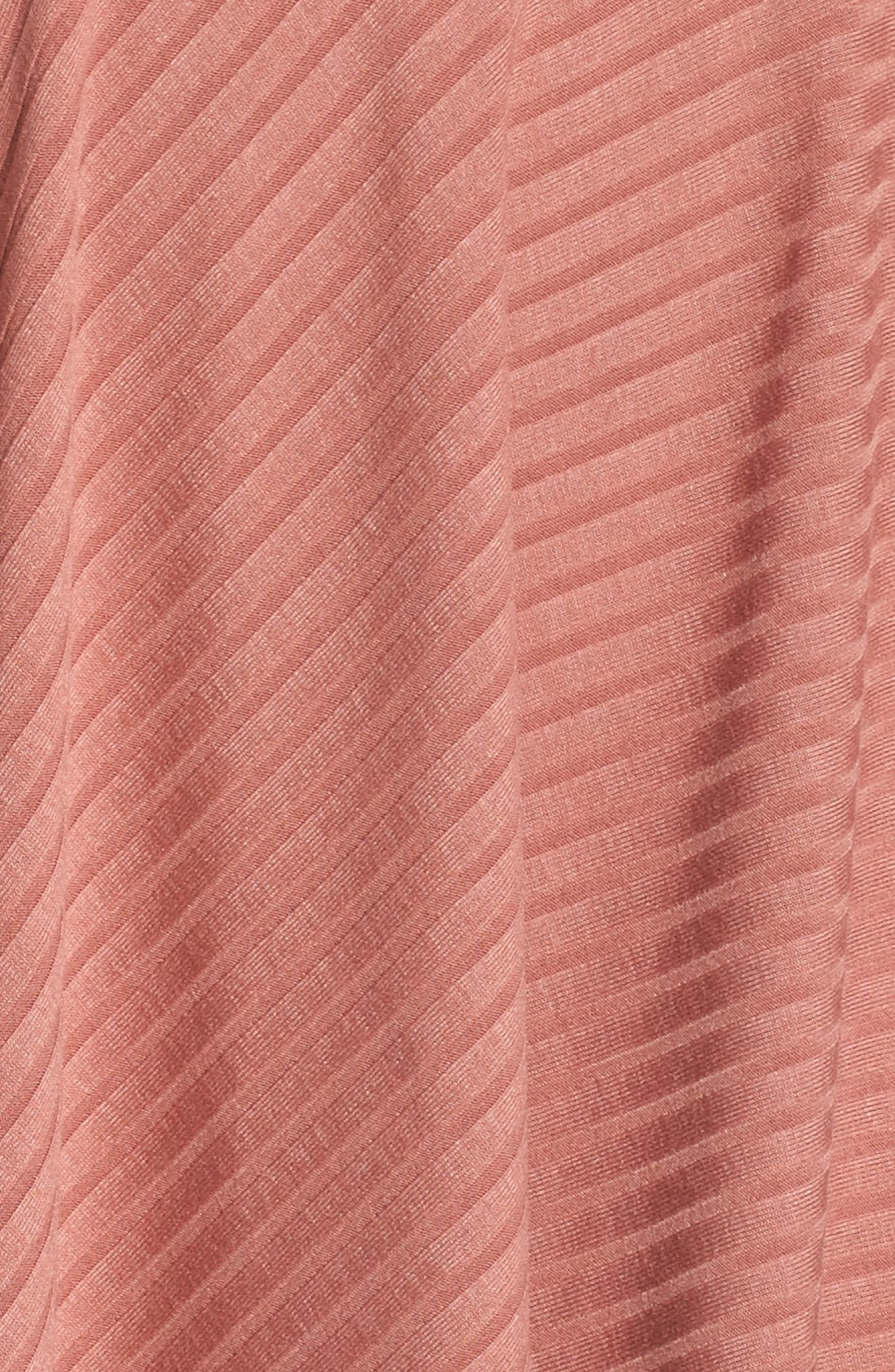 Asymmetrical Ribbed Off the Shoulder Dress,                             Alternate thumbnail 6, color,                             Blush