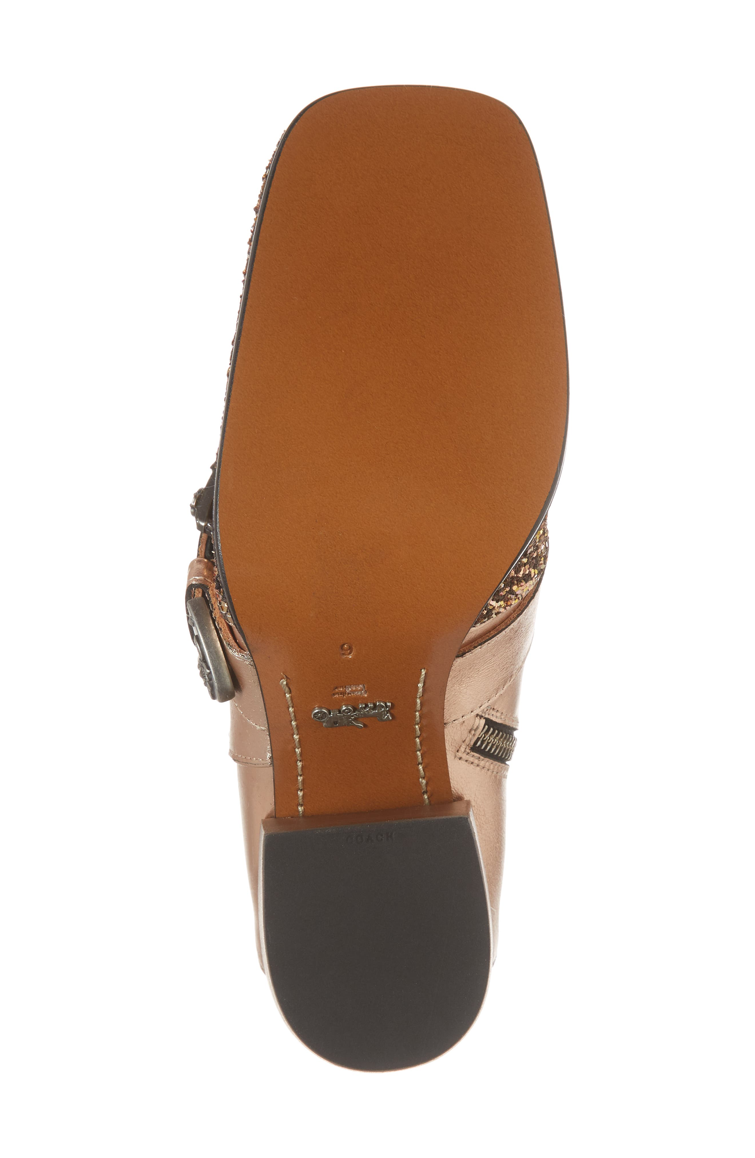 Glitter Western Bootie,                             Alternate thumbnail 6, color,                             Rose Gold Leather