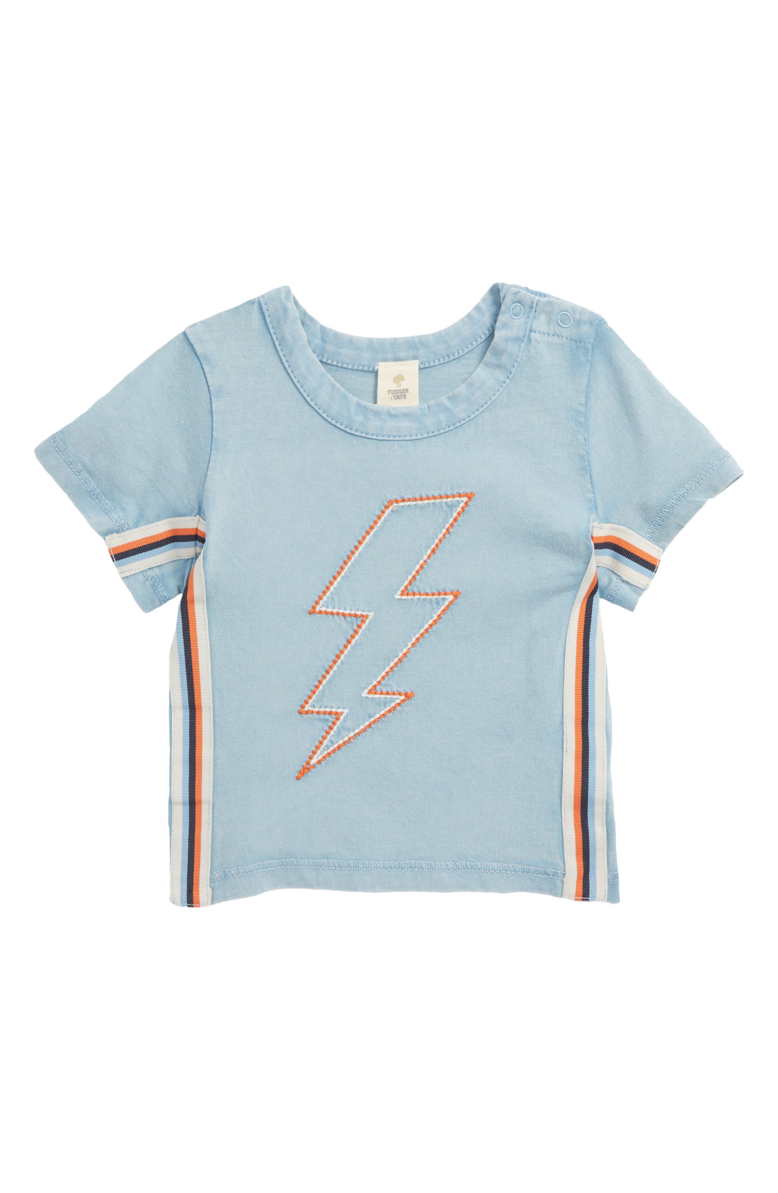 Embroidered T-Shirt,                         Main,                         color, Blue Chambray