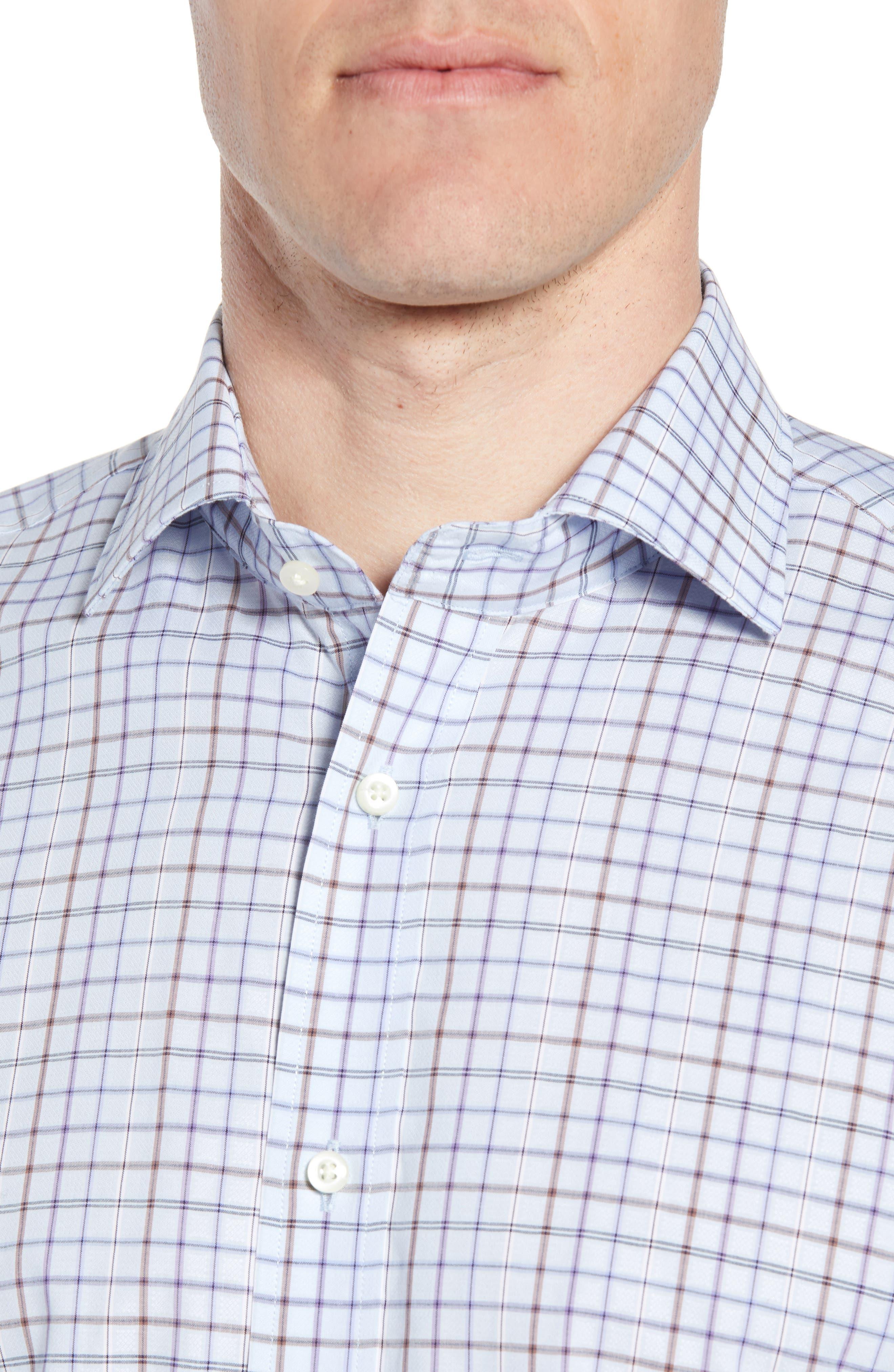 Regular Fit Windowpane Sport Shirt,                             Alternate thumbnail 4, color,                             Purple