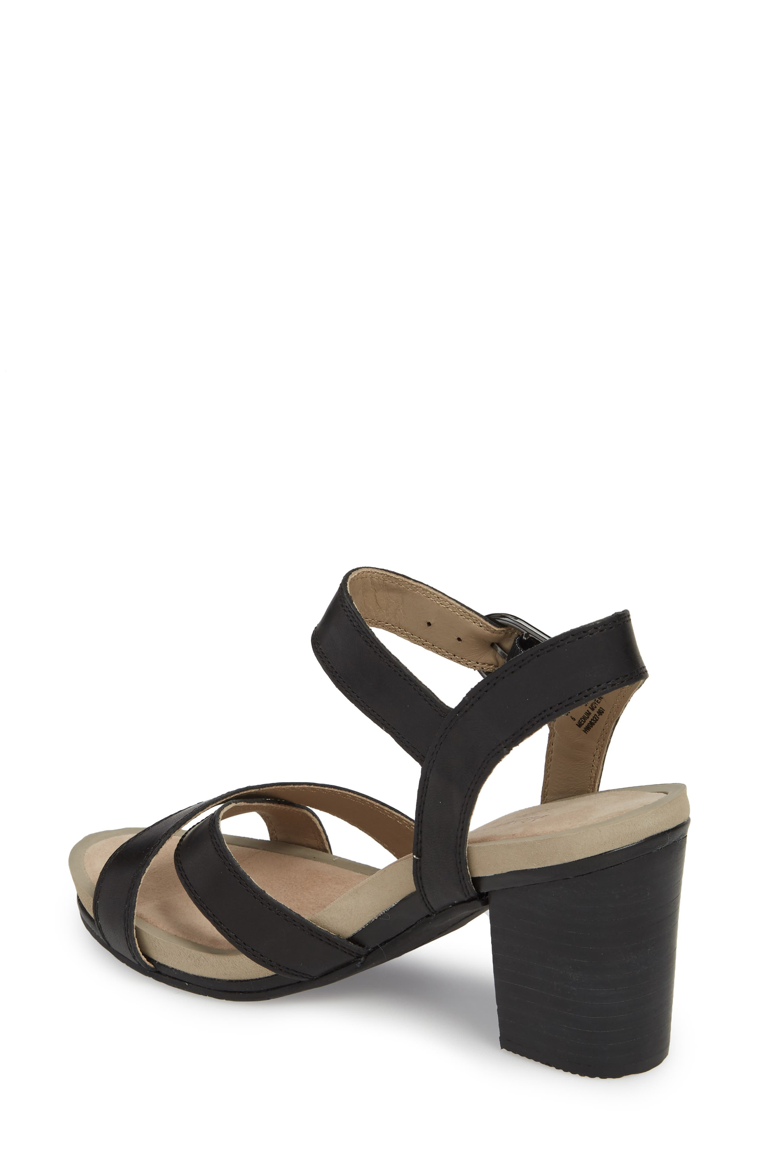 Mariska Block Heel Sandal,                             Alternate thumbnail 2, color,                             Black Leather