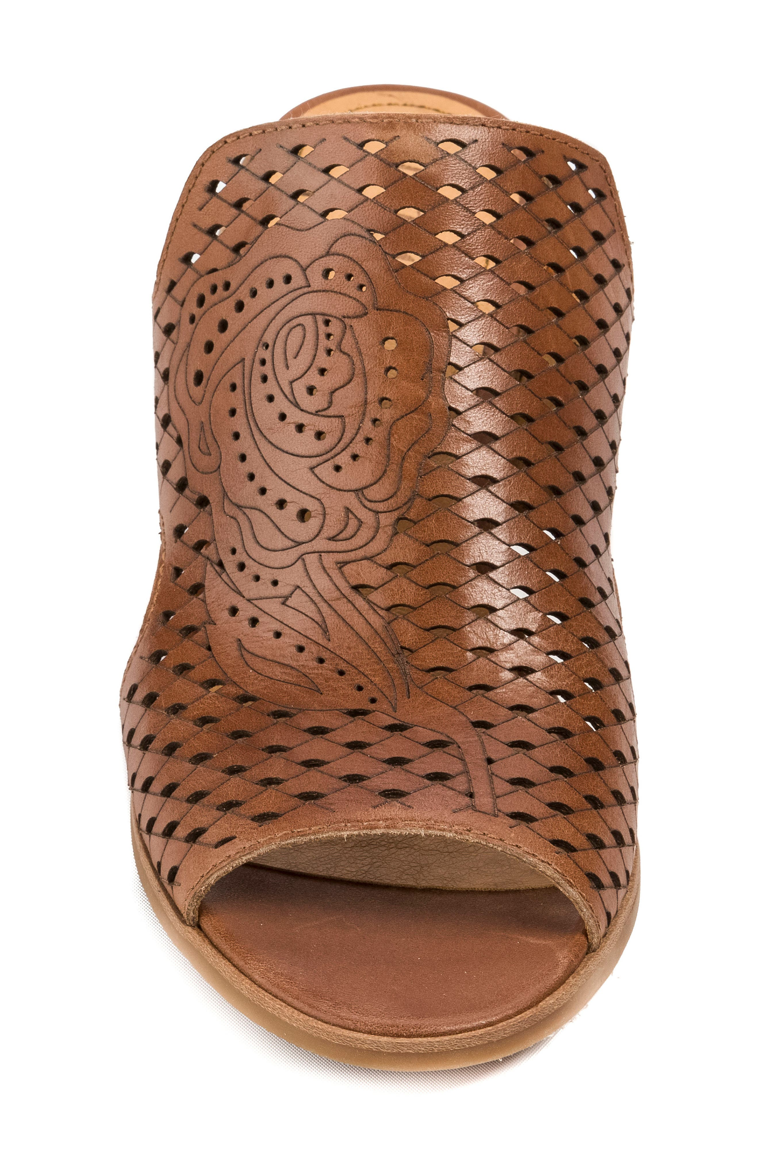 Janis Laser Cut Wedge Sandal,                             Alternate thumbnail 4, color,                             Brush Brown Leather