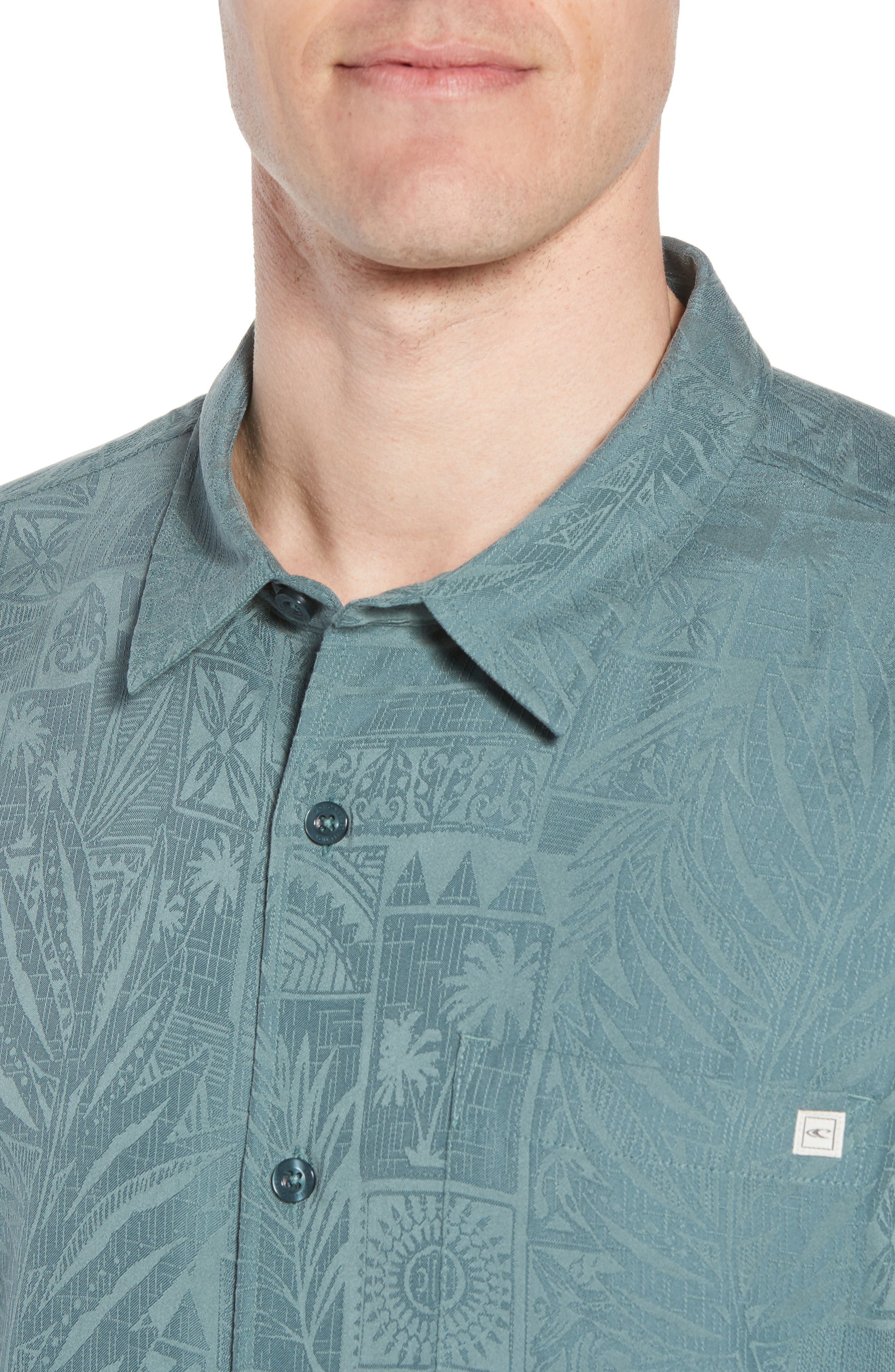 Island Life Print Sport Shirt,                             Alternate thumbnail 2, color,                             Dark Sea Glass