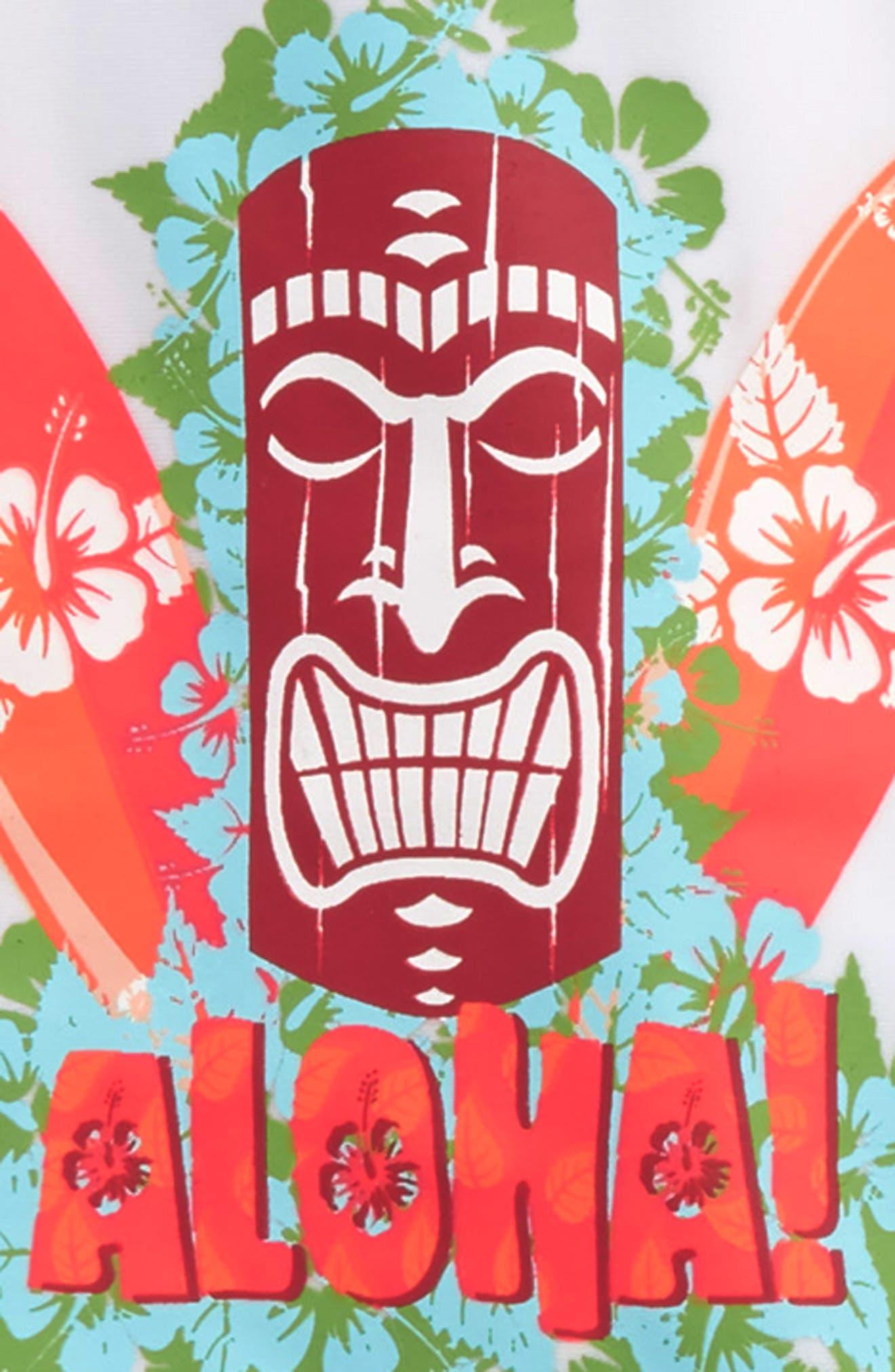 Aloha Tiki Two-Piece Rashguard Swimsuit,                             Alternate thumbnail 2, color,                             Blue/ Green