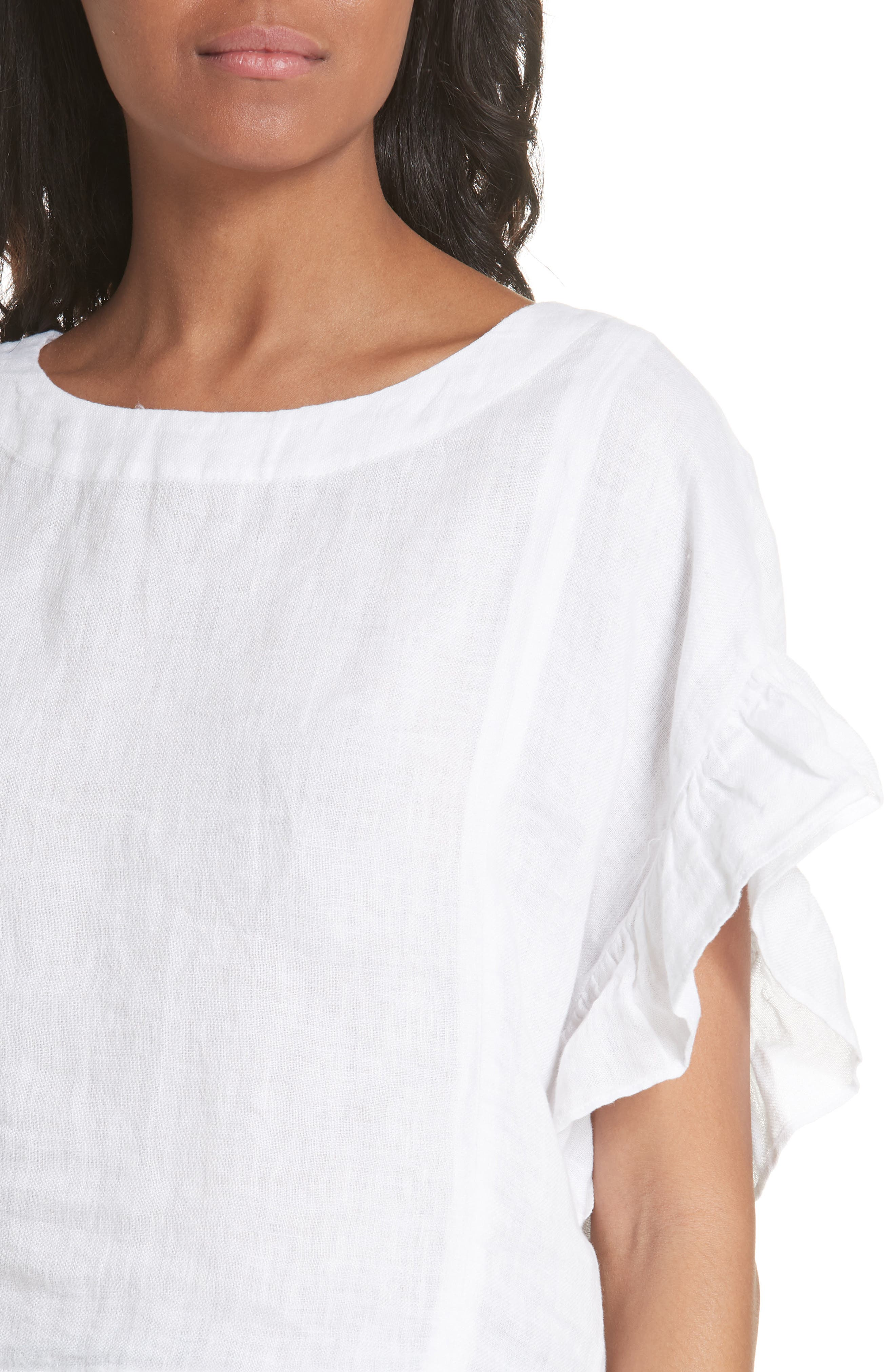Febronia Ruffle Sleeve Linen Crop Top,                             Alternate thumbnail 4, color,                             Porcelain