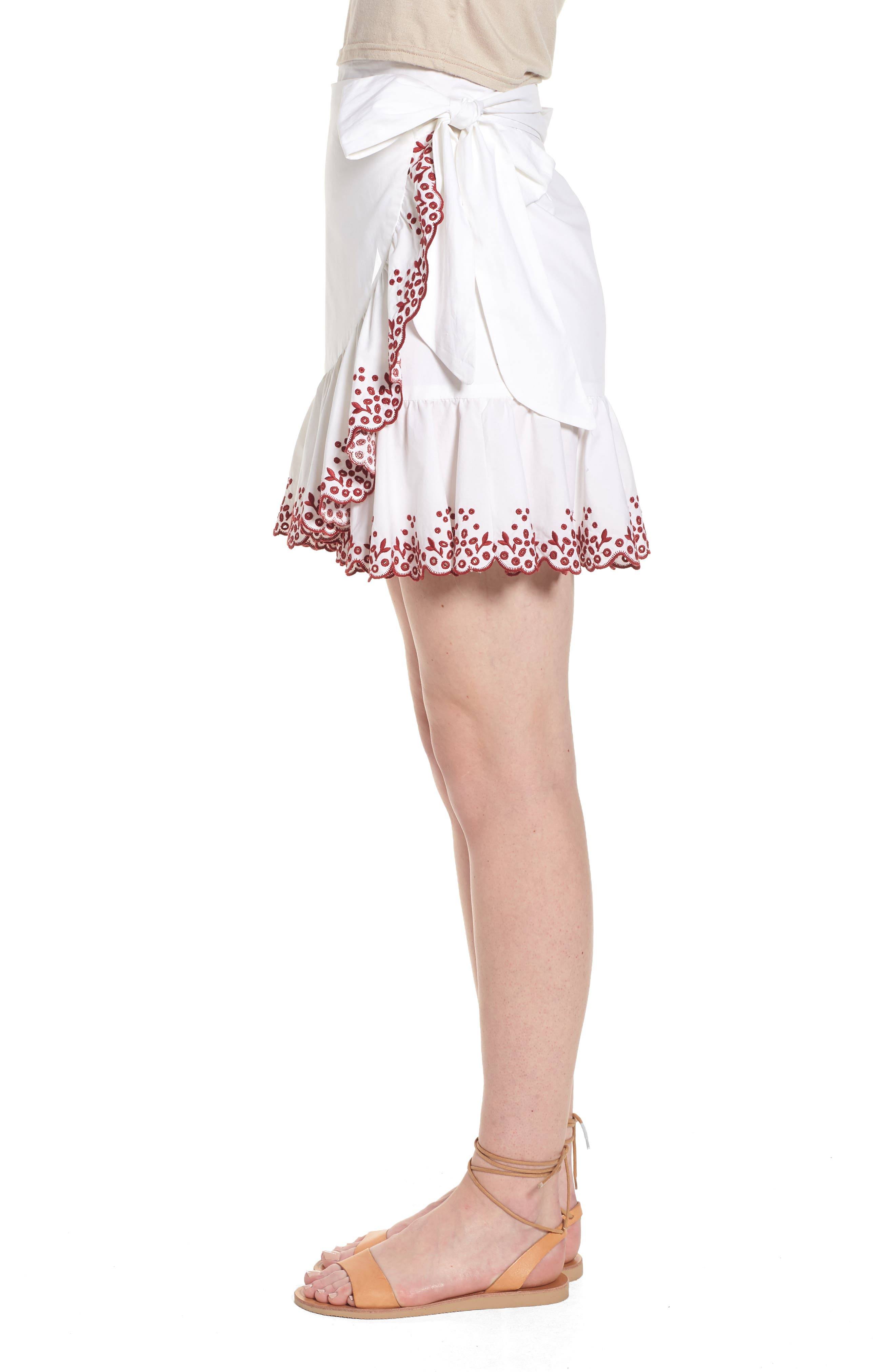Alice Faux Wrap Skirt,                             Alternate thumbnail 4, color,                             White/ Red