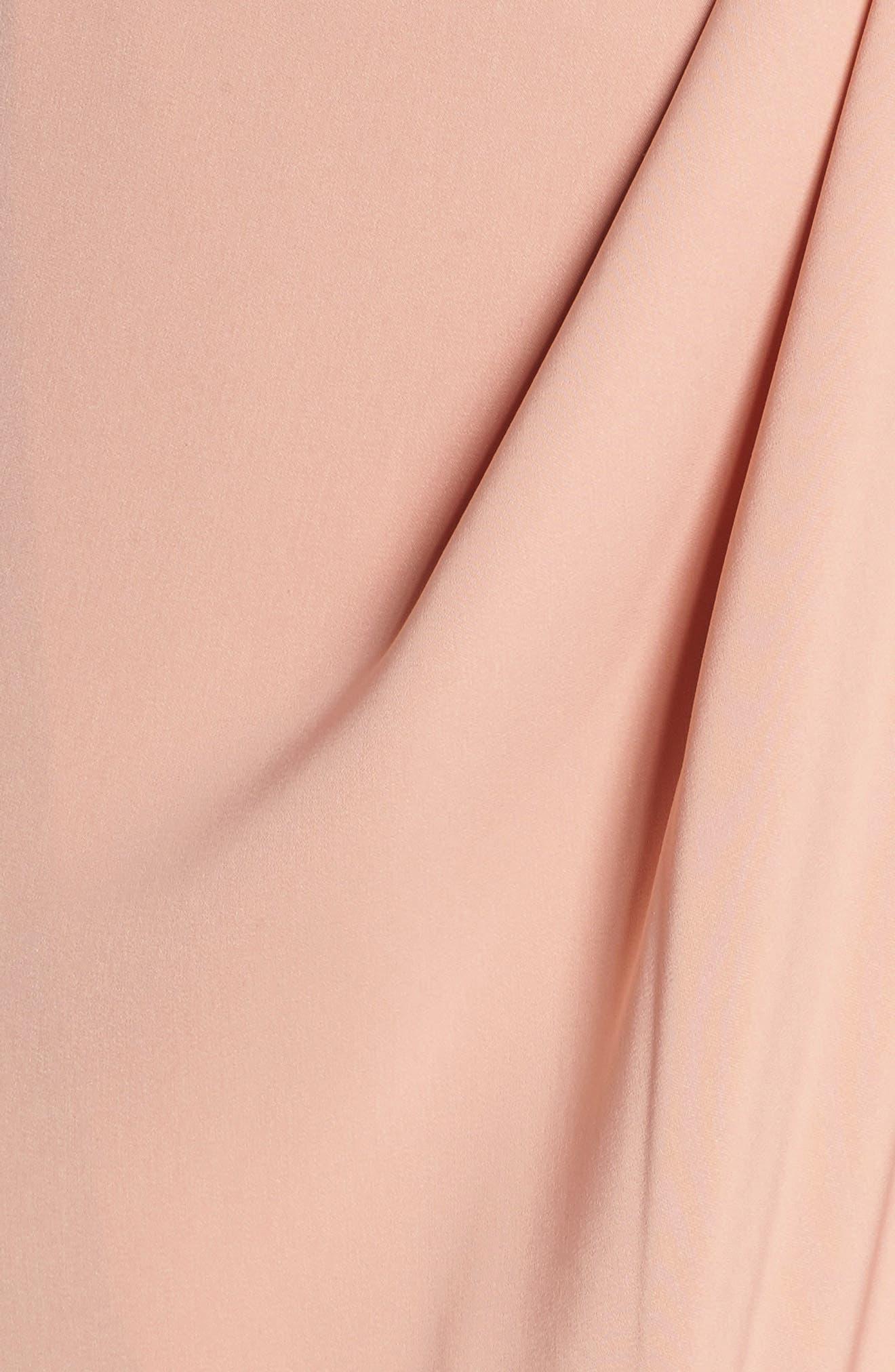 Knotted Tulip Hem Midi Dress,                             Alternate thumbnail 5, color,                             Dusty Pink