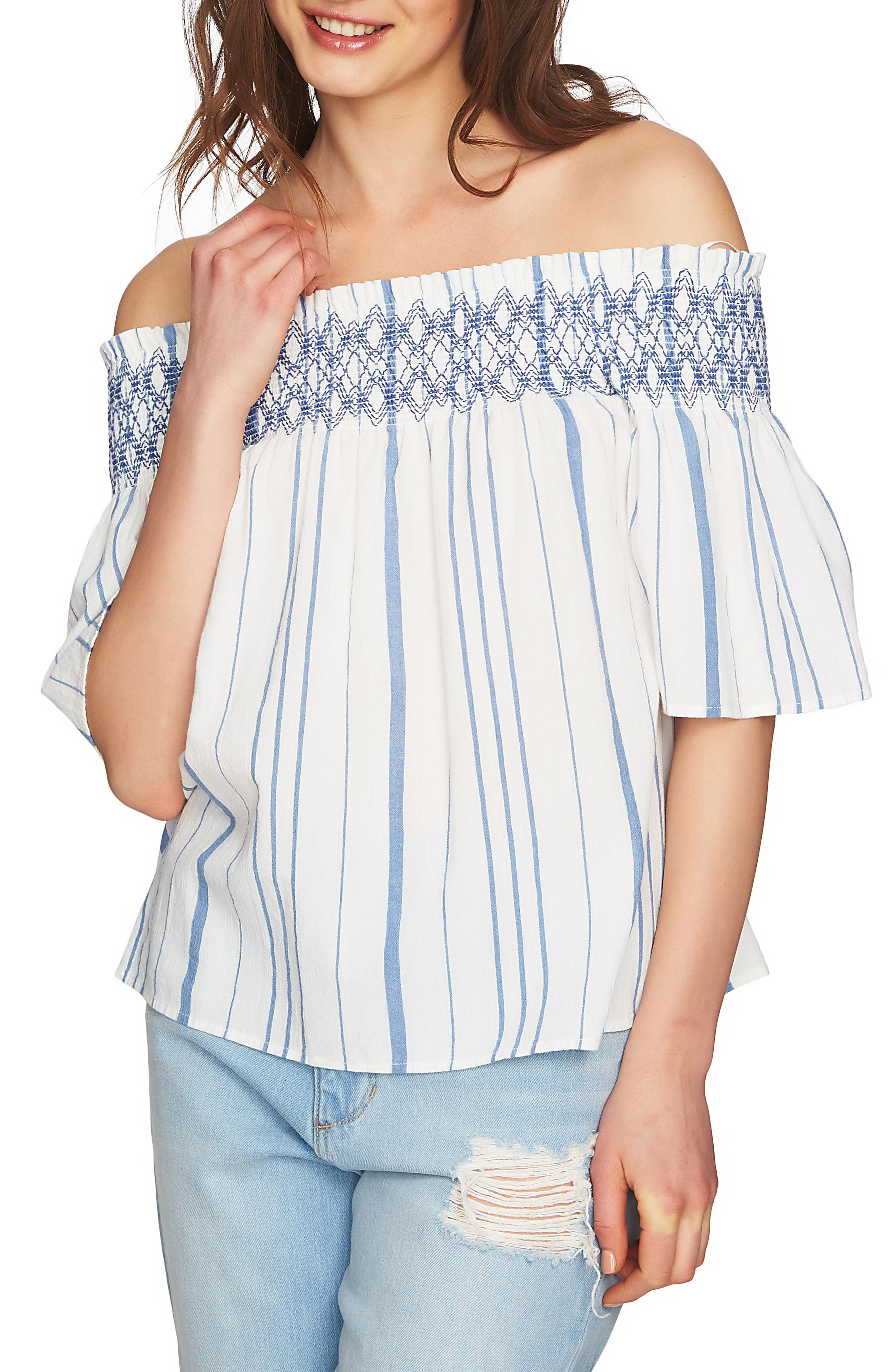 Smocked Off the Shoulder Top,                             Main thumbnail 1, color,                             Antique White