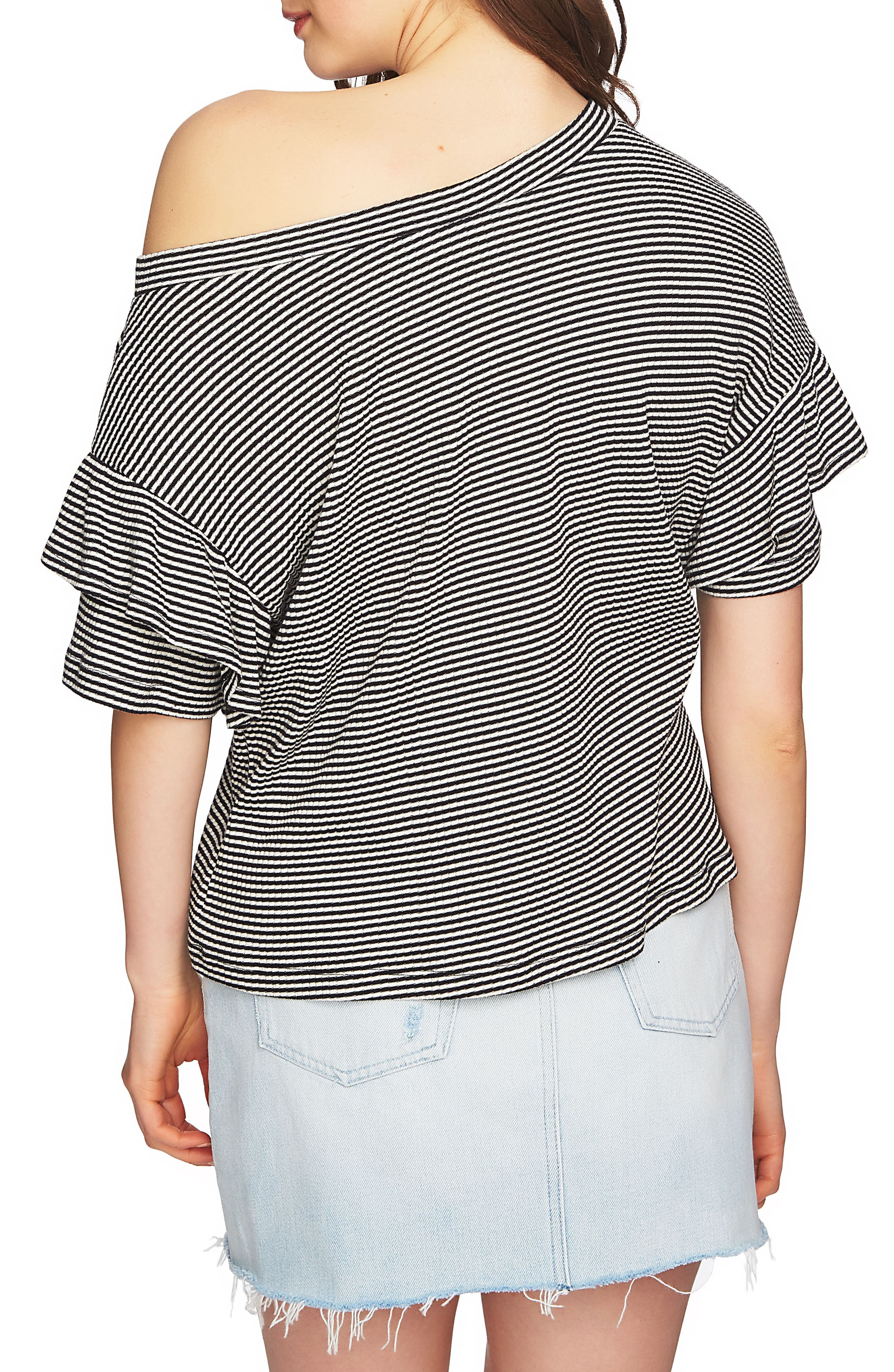 Ruffle Off the Shoulder Tee,                             Alternate thumbnail 3, color,                             Rich Black