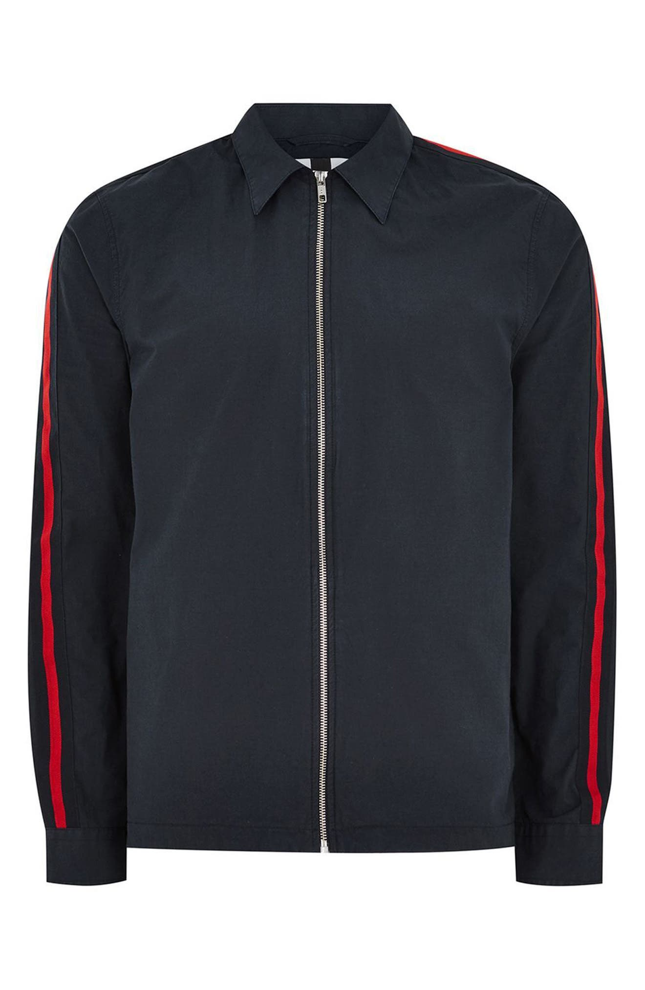 Stripe Sleeve Shirt Jacket,                             Alternate thumbnail 4, color,                             Navy Blue