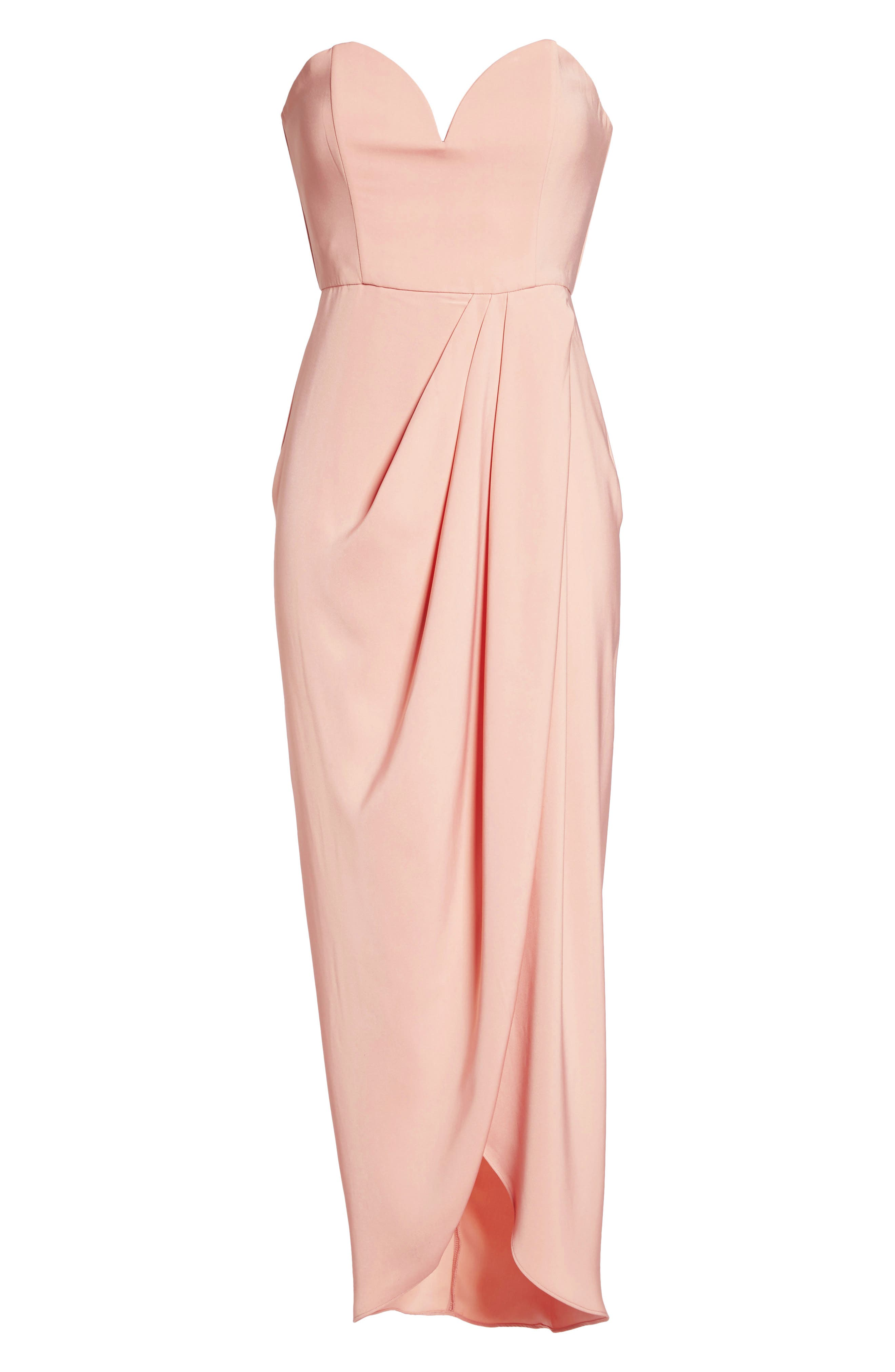 Underwire Bustier Tulip Hem Dress,                             Alternate thumbnail 6, color,                             Dusty Pink