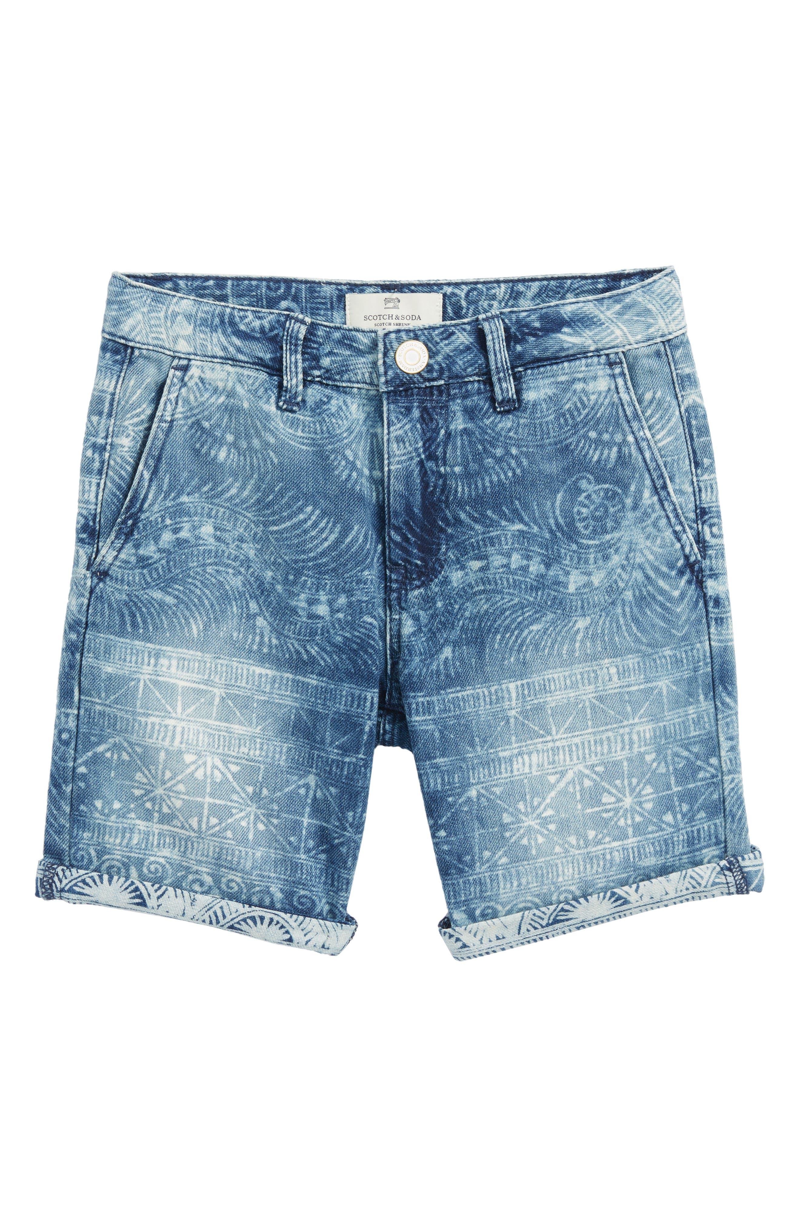 Denim Chino Shorts,                         Main,                         color, Blue