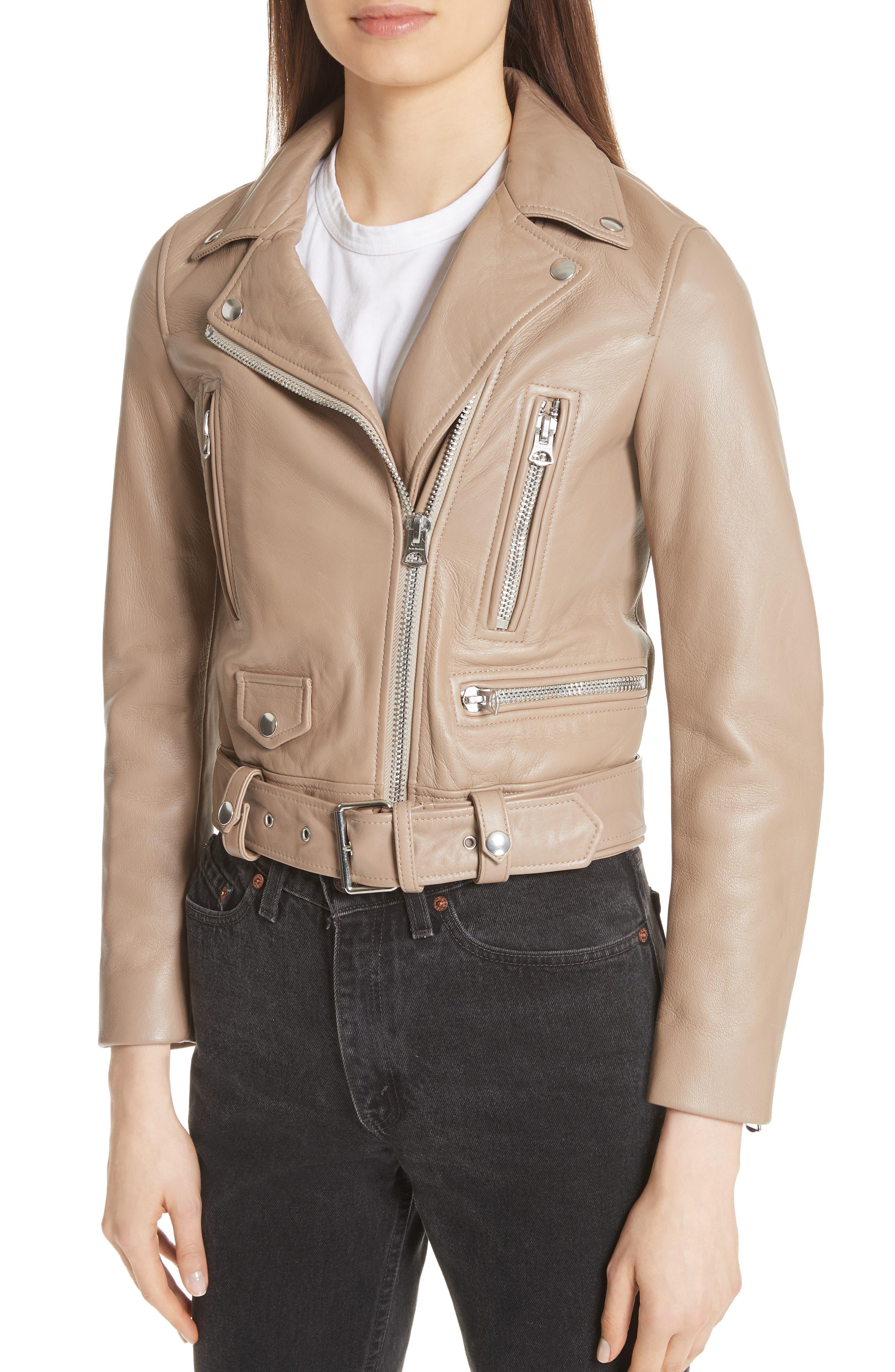 Mock Core Leather Moto Jacket,                             Alternate thumbnail 4, color,                             Beige