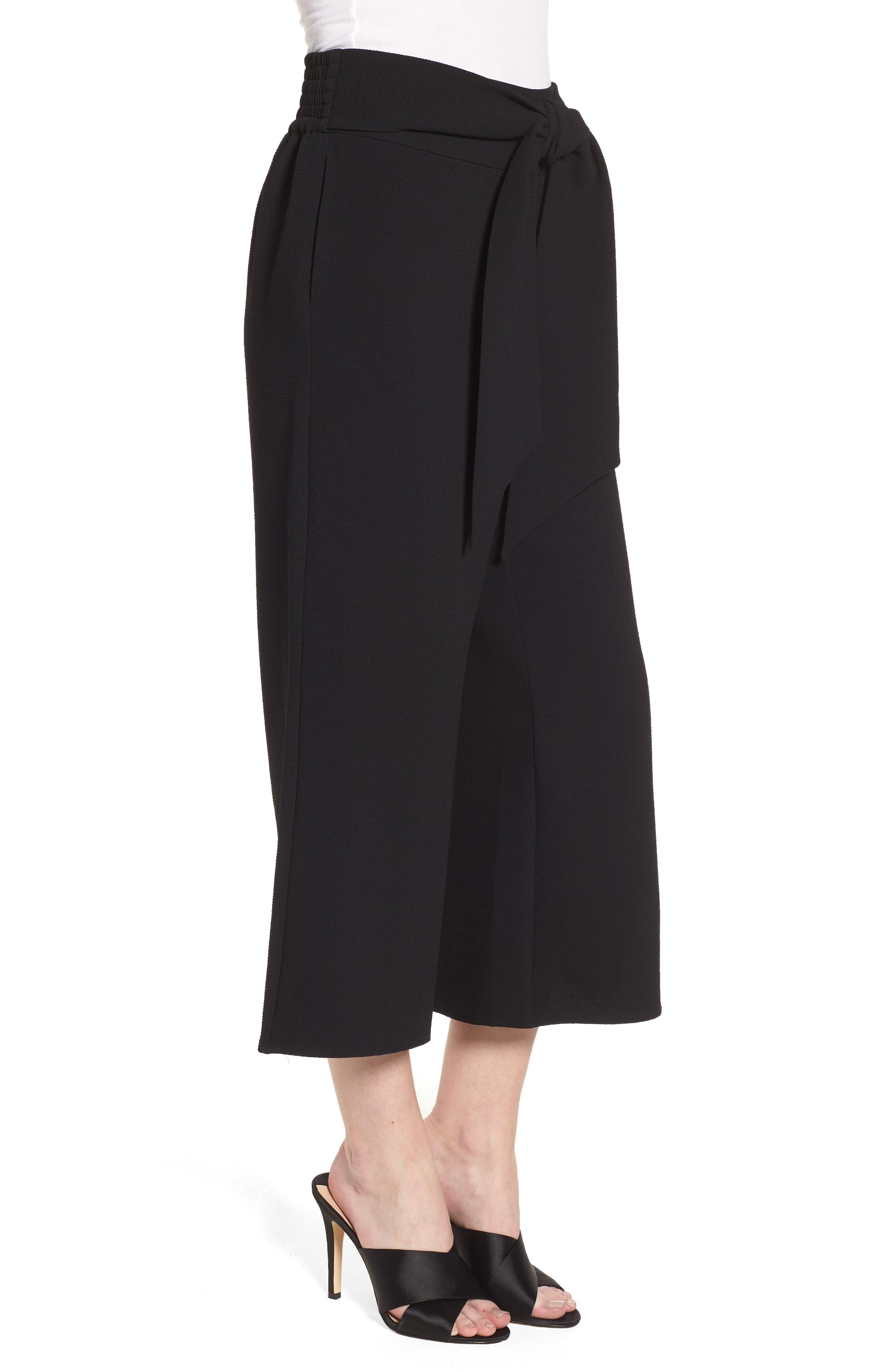 Trouvé Tie Front Wide Leg Pants,                             Alternate thumbnail 3, color,                             Black