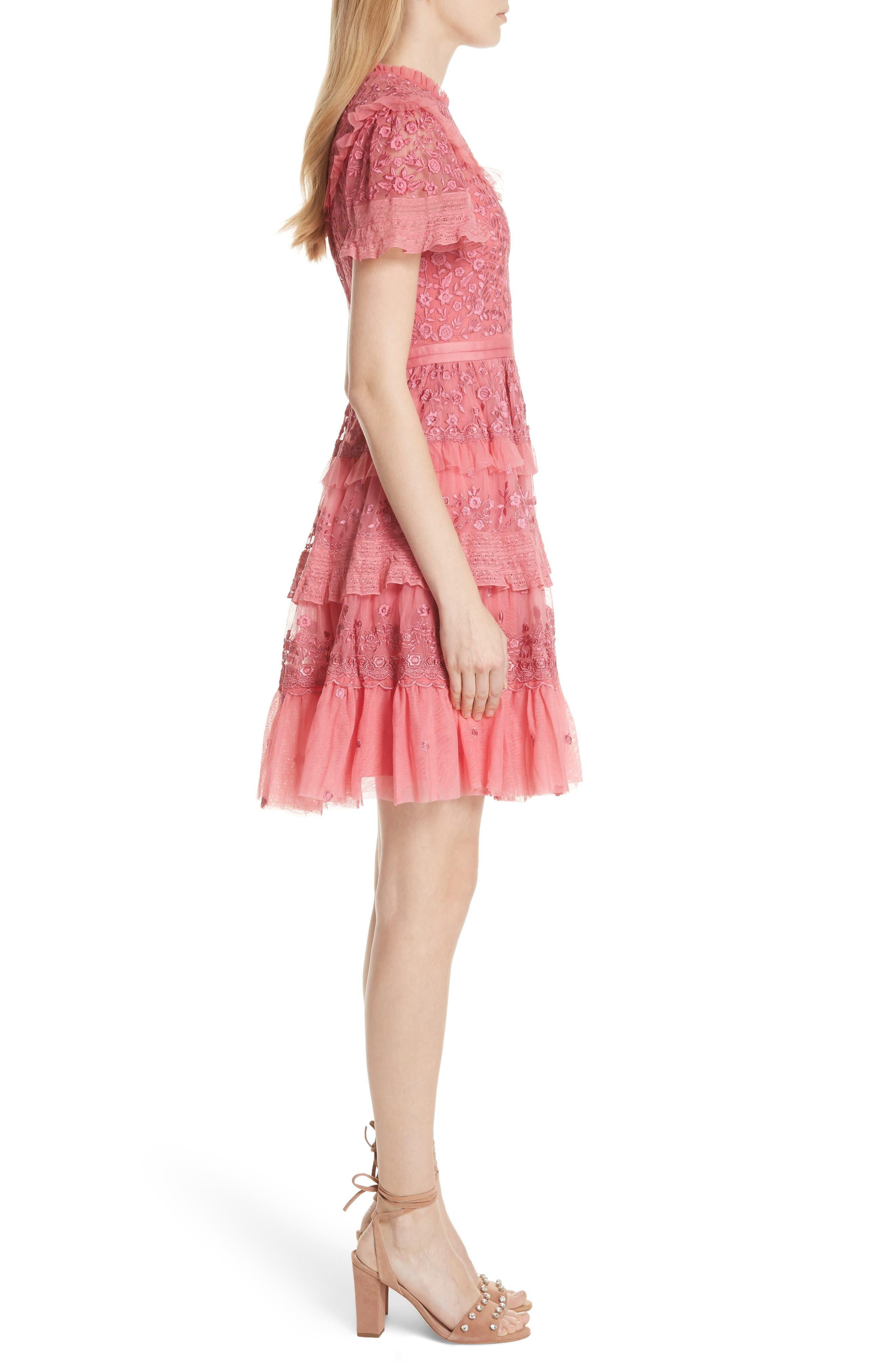 Iris Fit & Flare Dress,                             Alternate thumbnail 3, color,                             Hot Pink