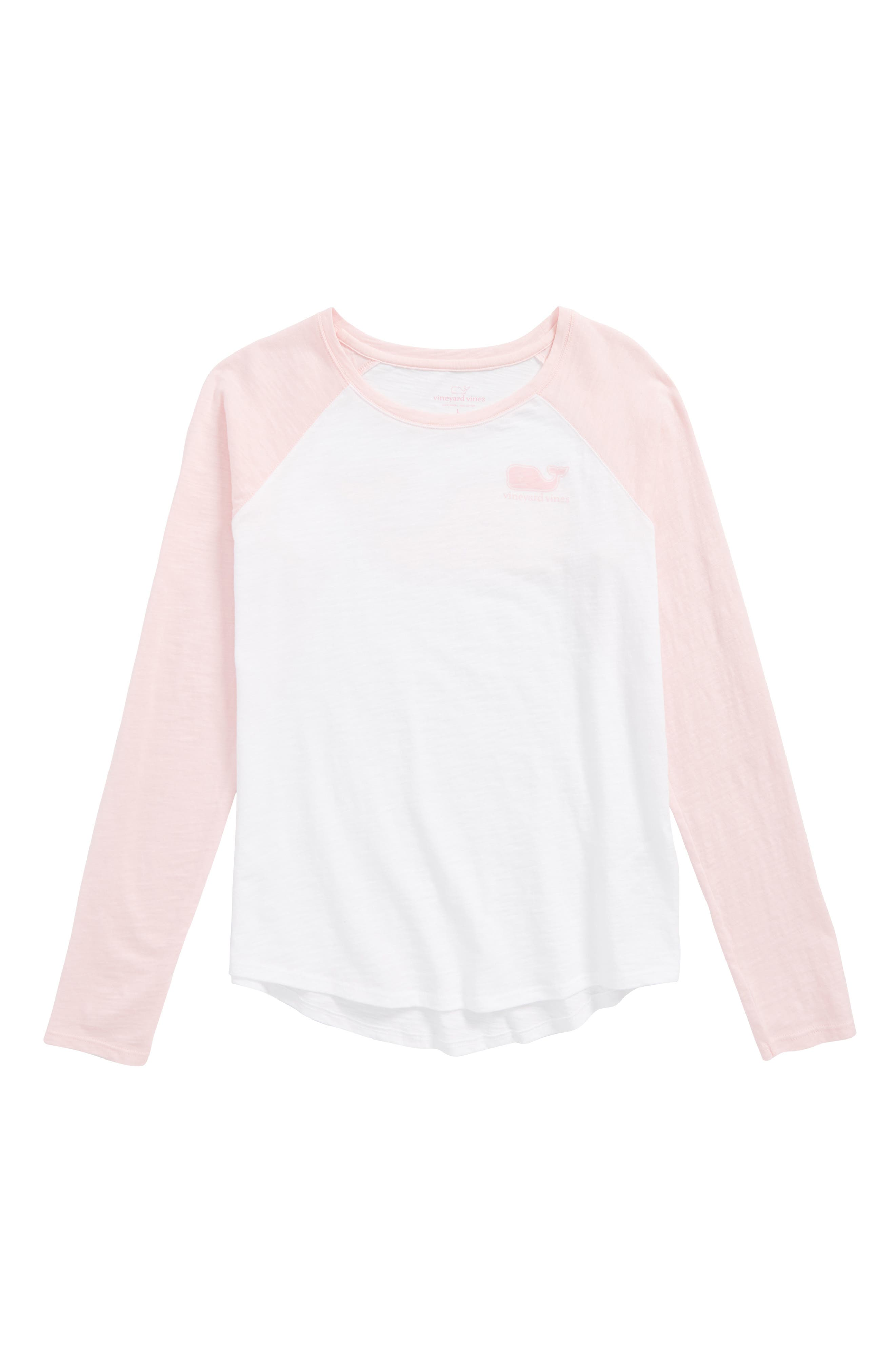 Raglan Whale Graphic Tee,                         Main,                         color, Flamingo