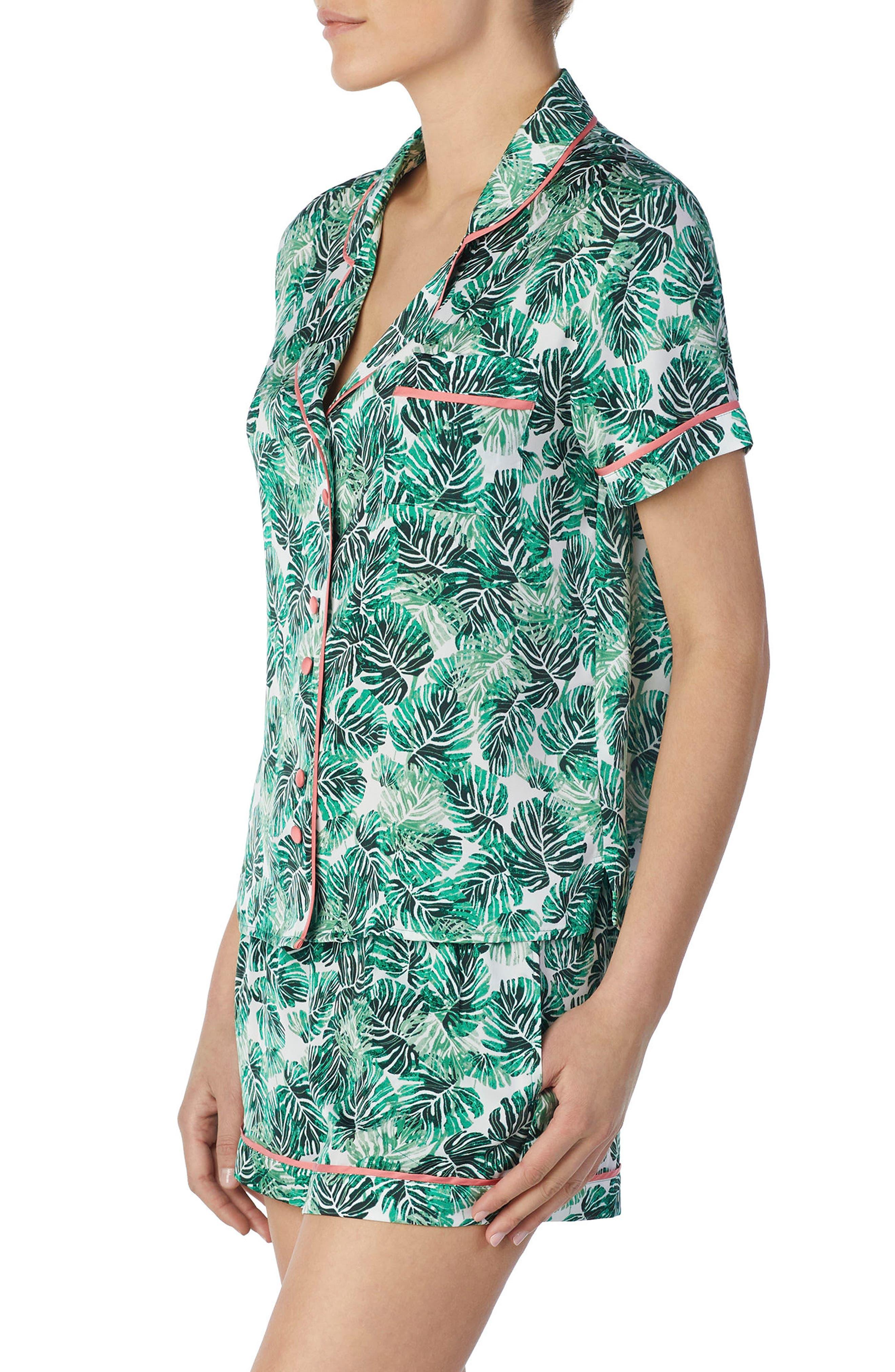 Short Satin Pajamas,                             Alternate thumbnail 3, color,                             Cameo Jungle Palm