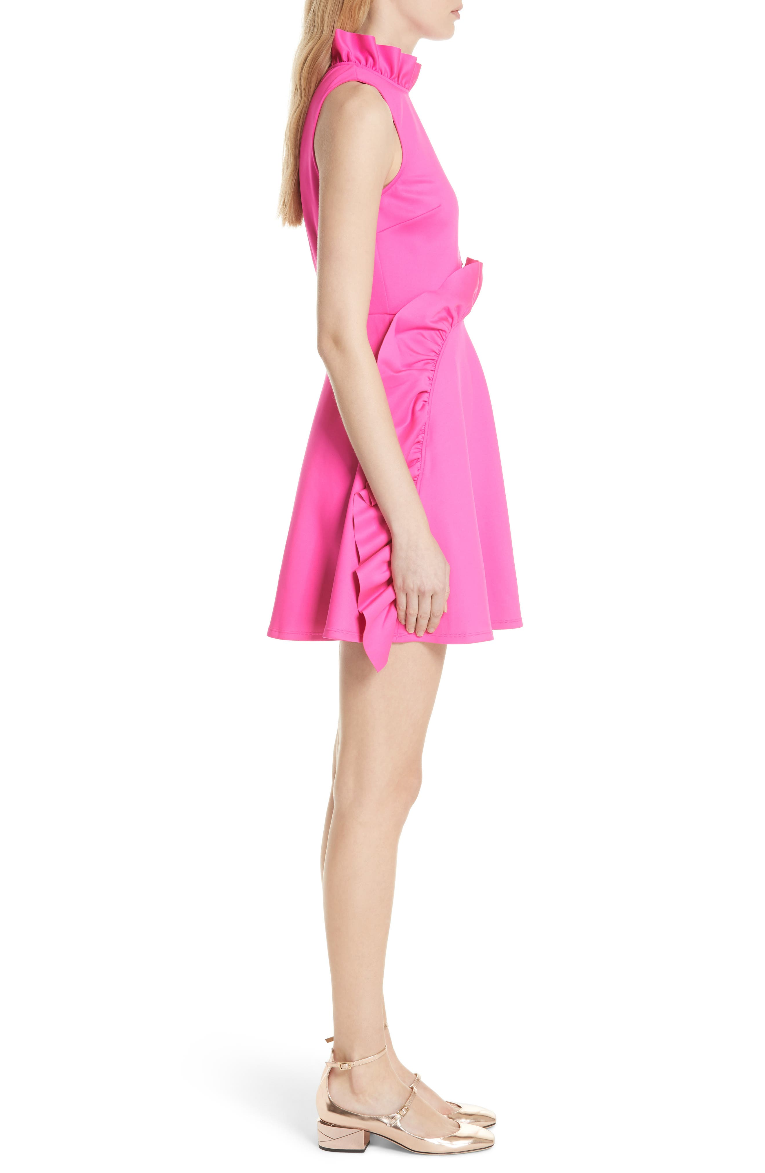 Jannett Laser Cut Ruffle Dress,                             Alternate thumbnail 3, color,                             Neon Pink
