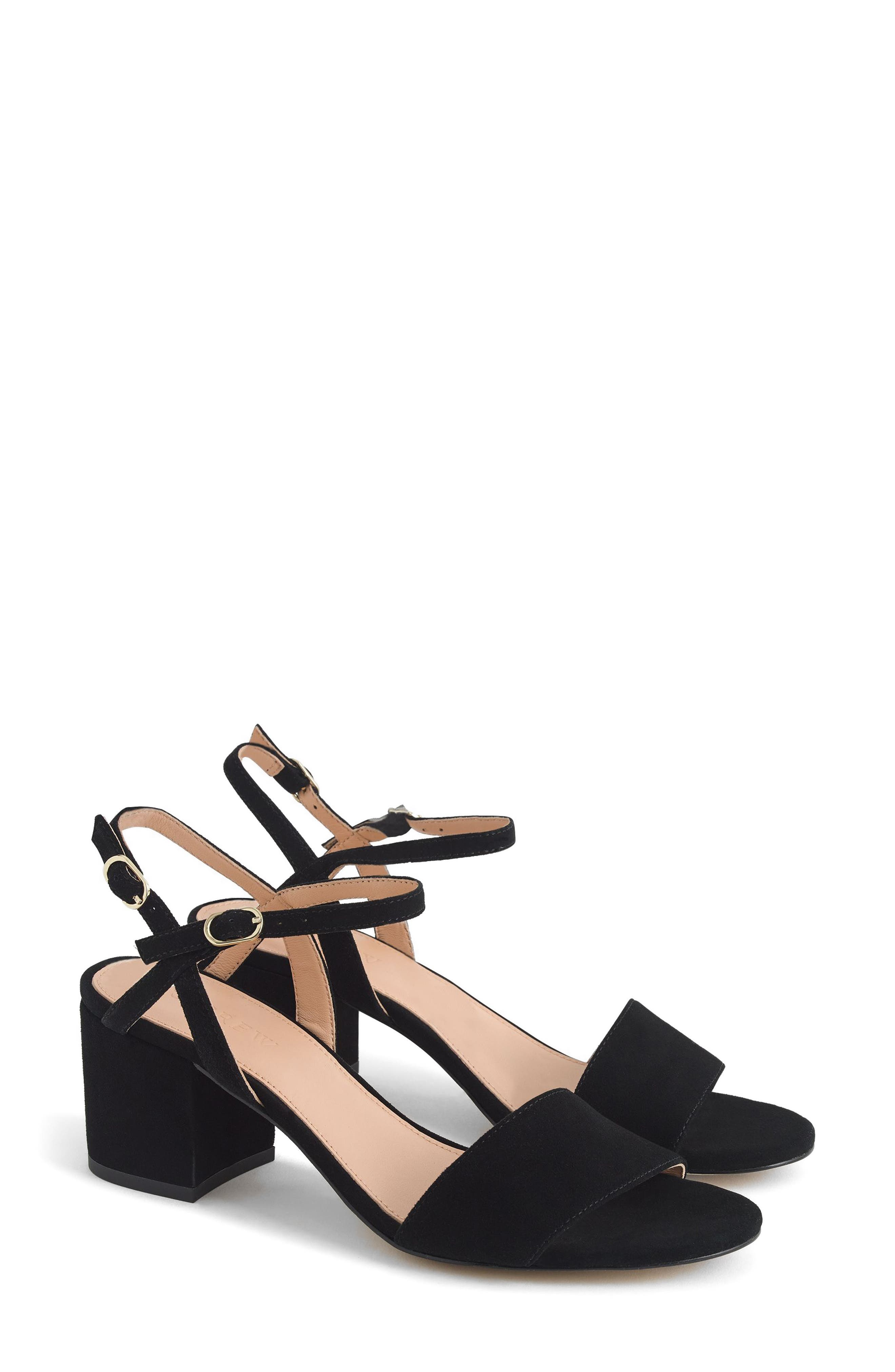 Strappy Block Heel Sandal,                             Main thumbnail 1, color,                             Black Leather
