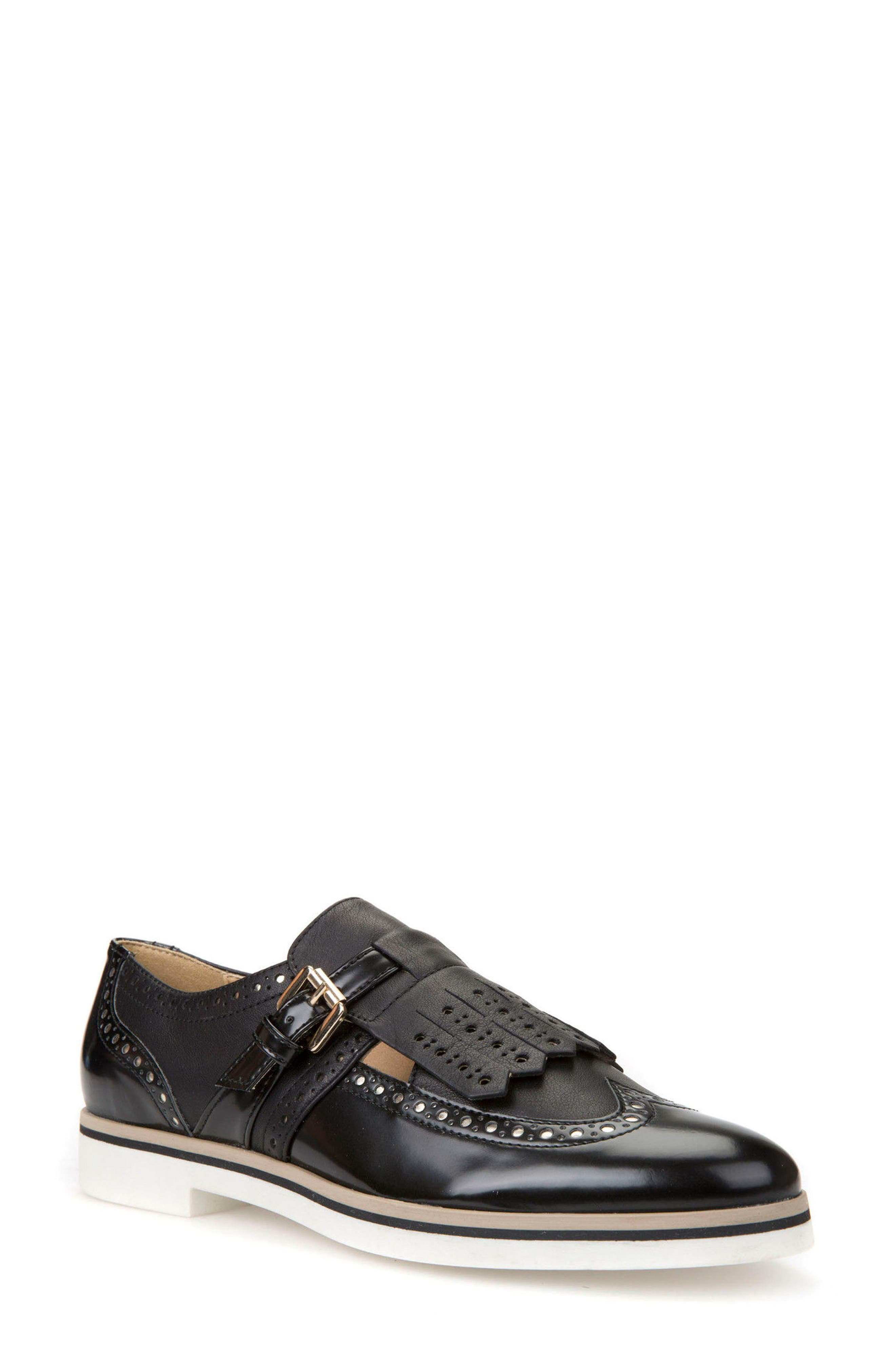 Janalee Cutout Loafer,                         Main,                         color, Black Leather