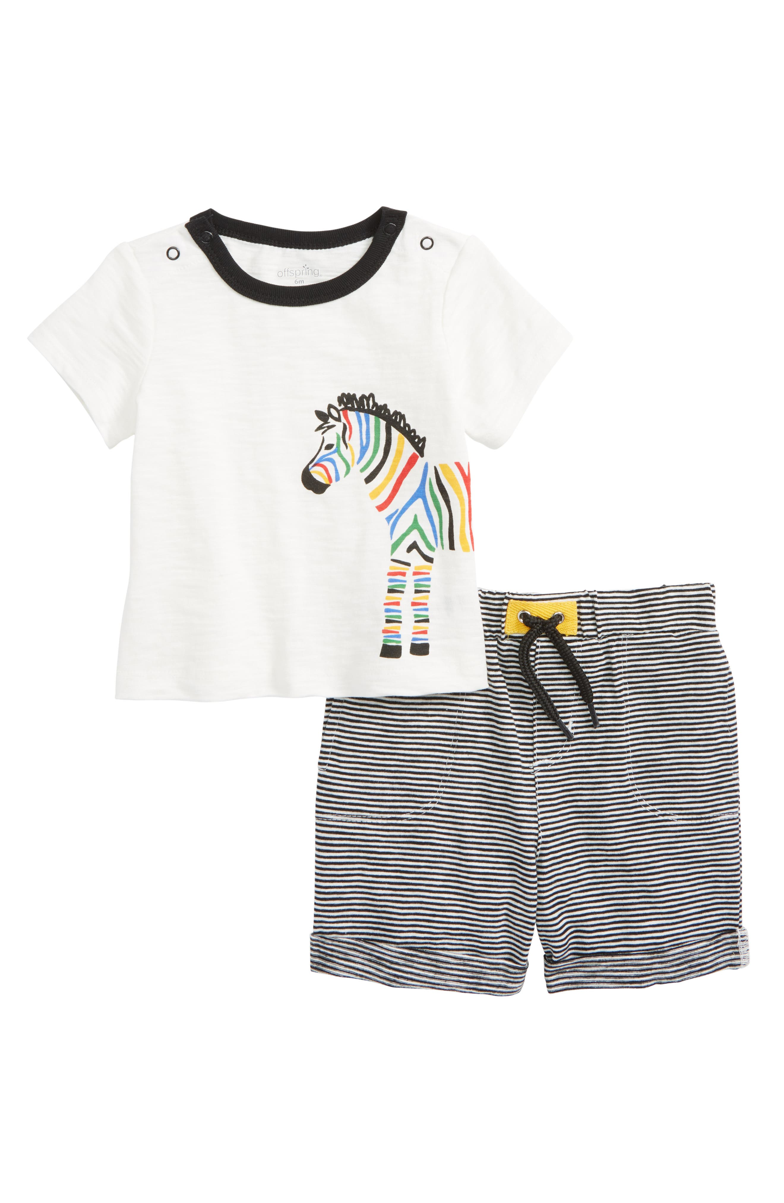 Zebra Stripe T-Shirt & Shorts Set,                         Main,                         color, White/ Black