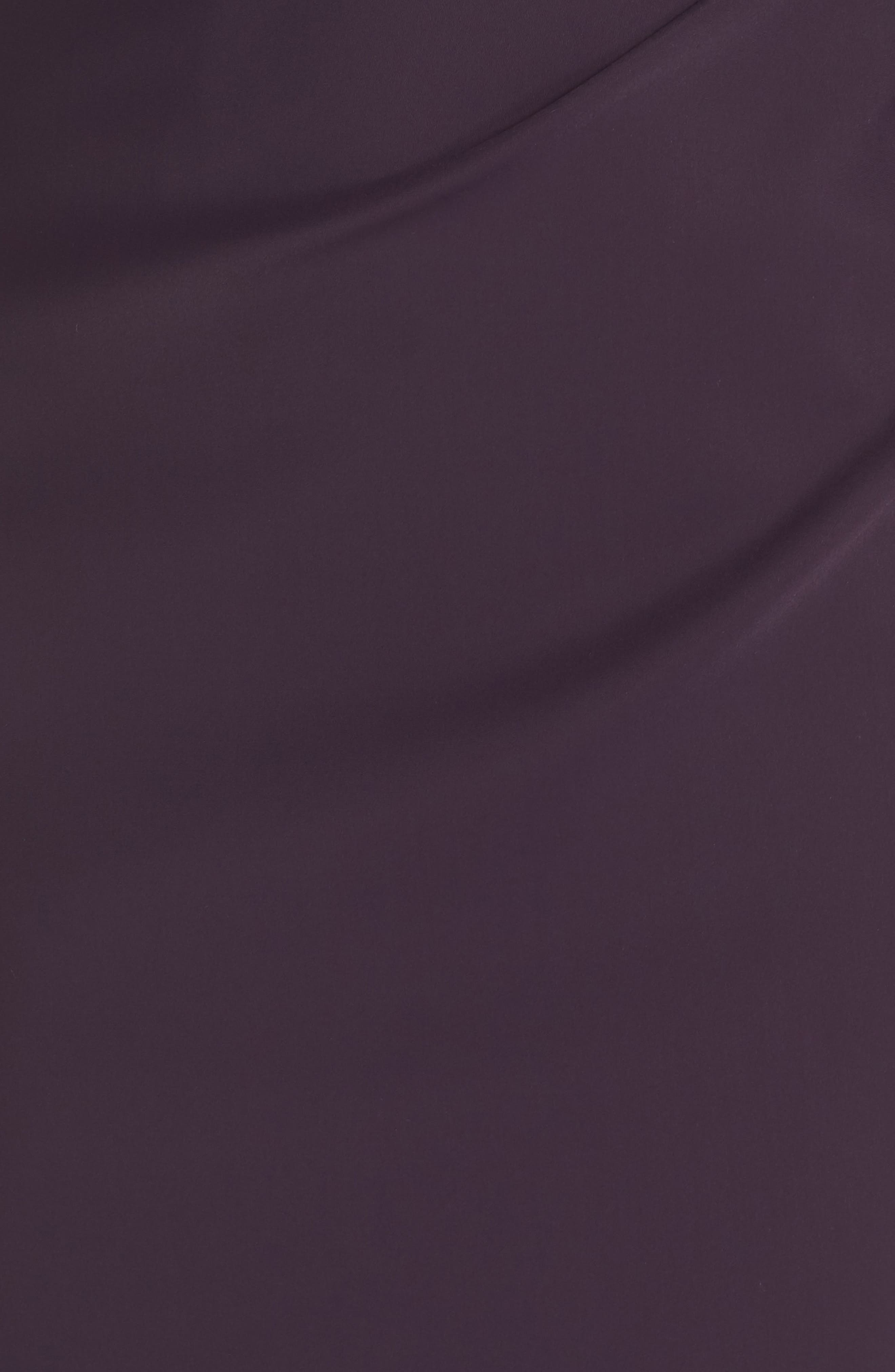 Embellished Side Drape Column Gown,                             Alternate thumbnail 5, color,                             Aubergine