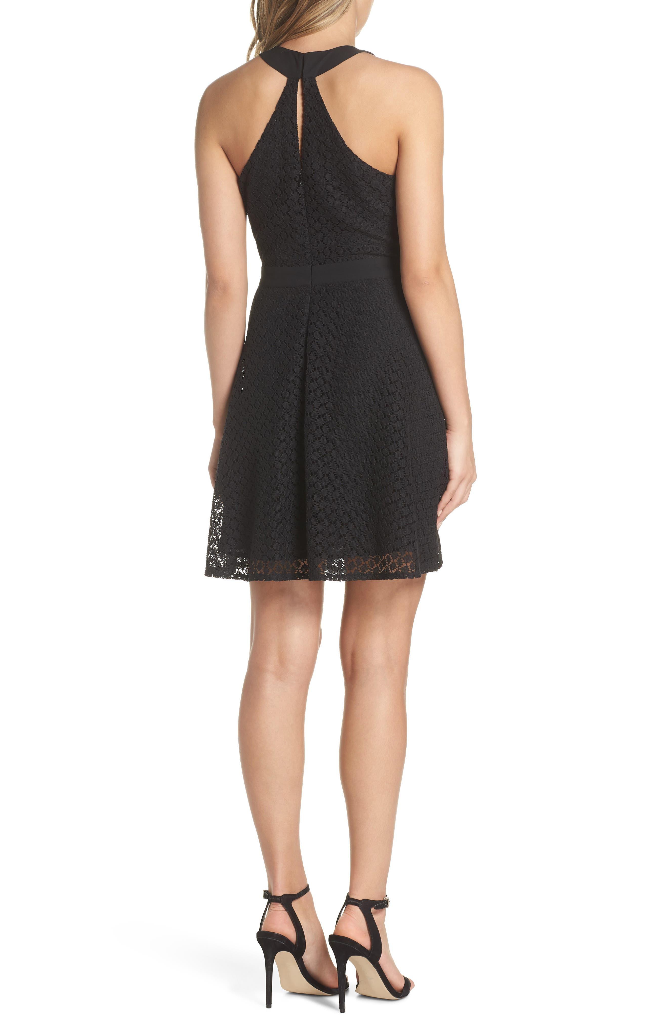 Lace Halter Dress,                             Alternate thumbnail 2, color,                             Black