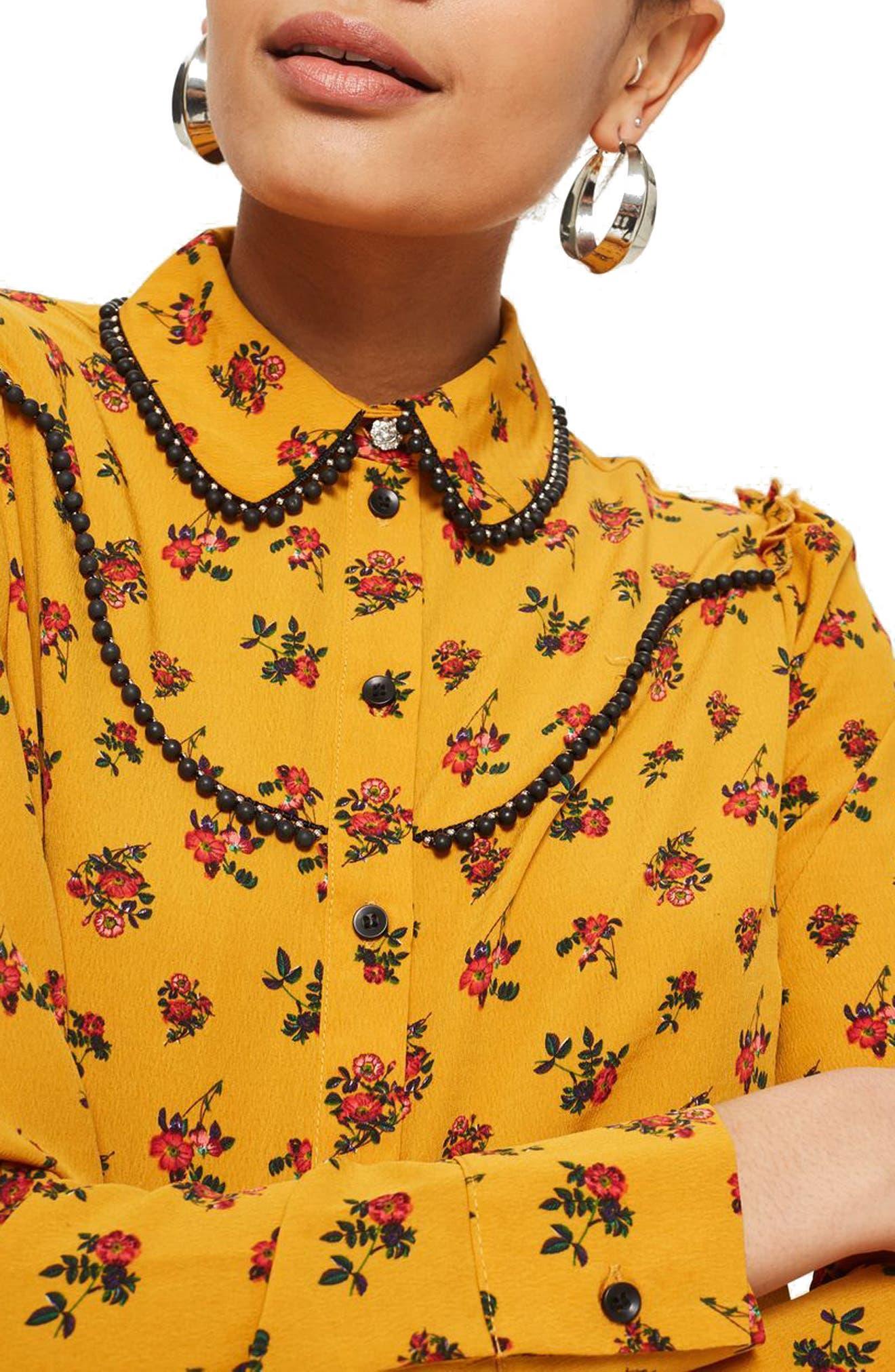Rodeo Floral Retro Shirt,                             Alternate thumbnail 3, color,                             Mustard